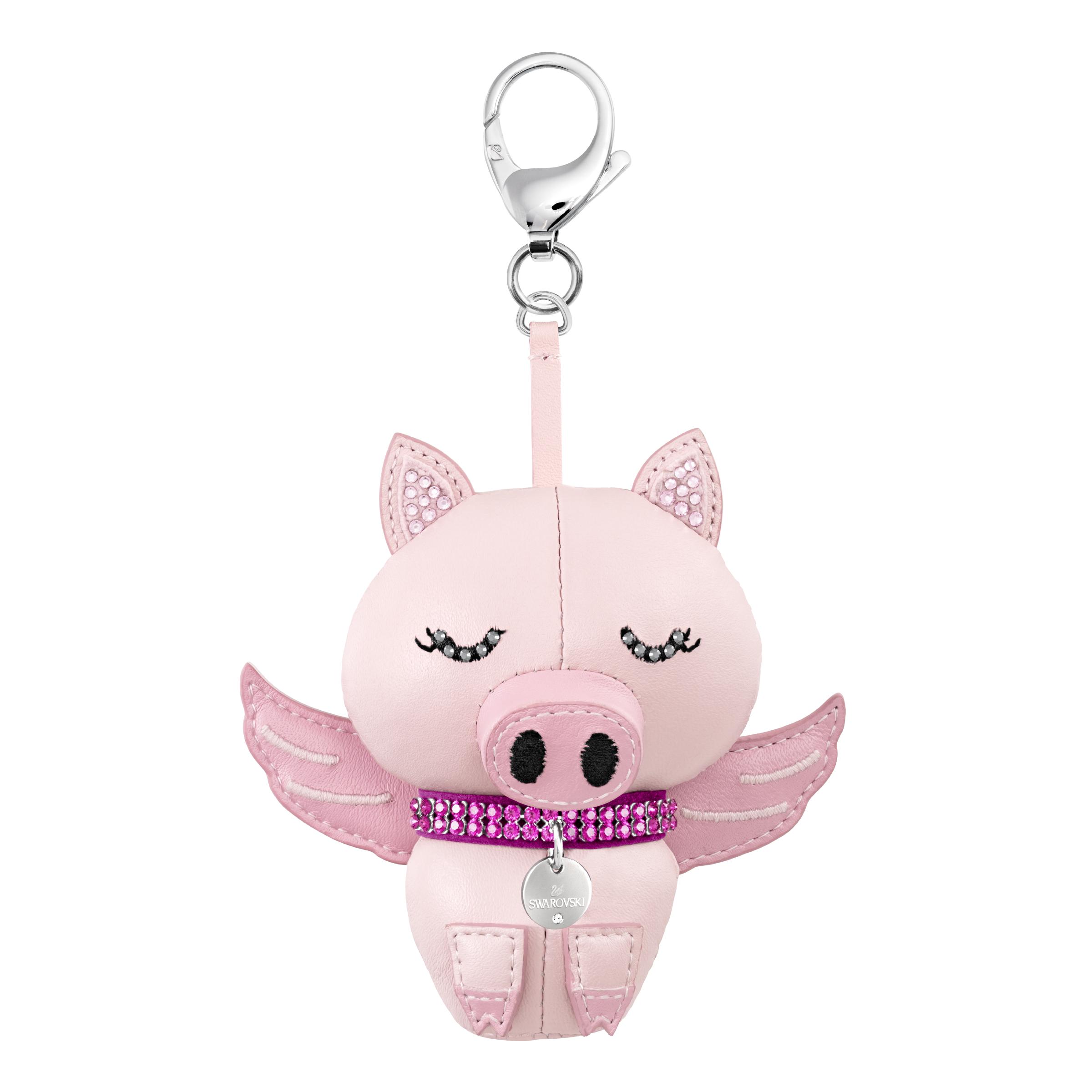 Bu Bu Bag Charm, Pink, Rhodium plating