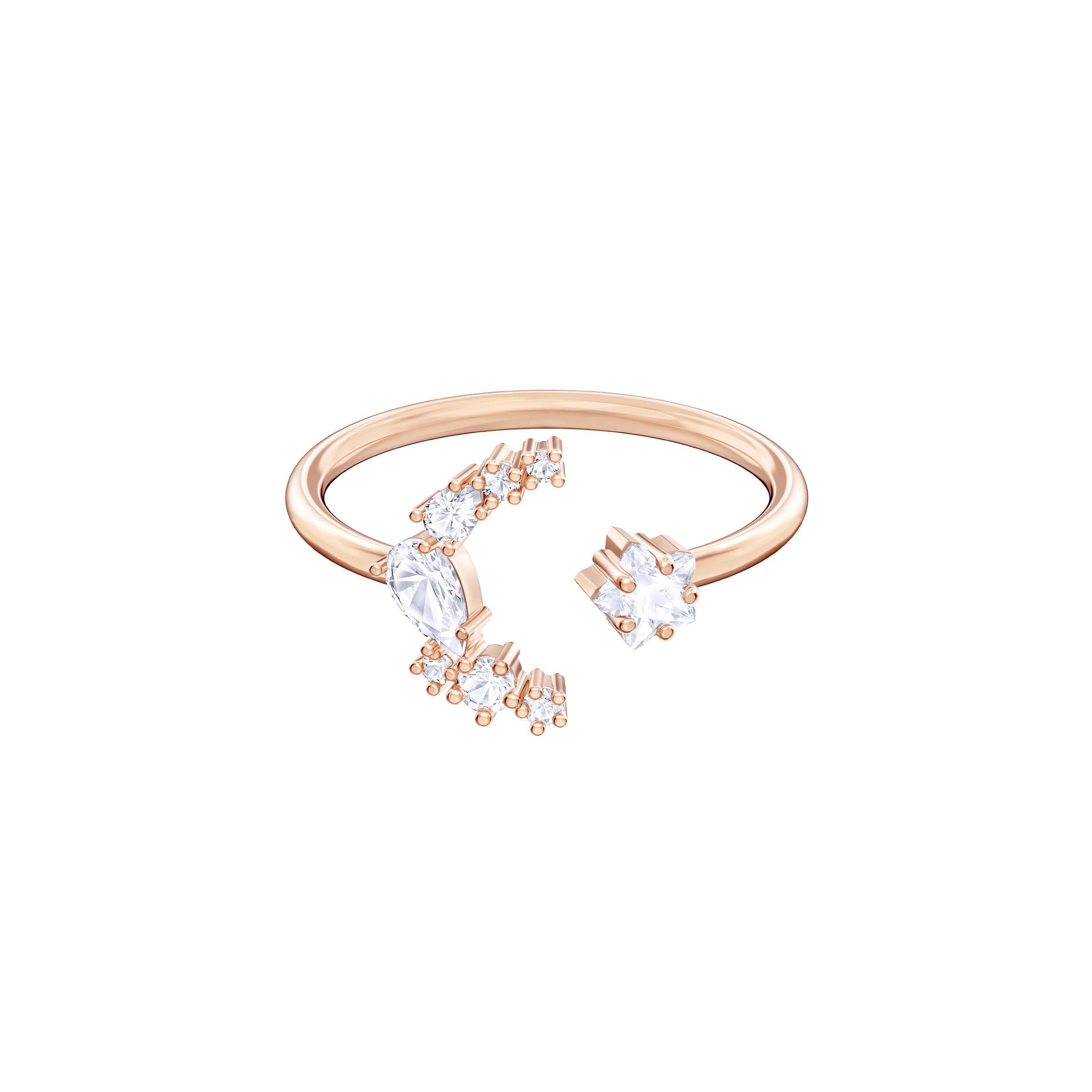 Penélope Cruz Moonsun Open Ring, White, Rose gold plating