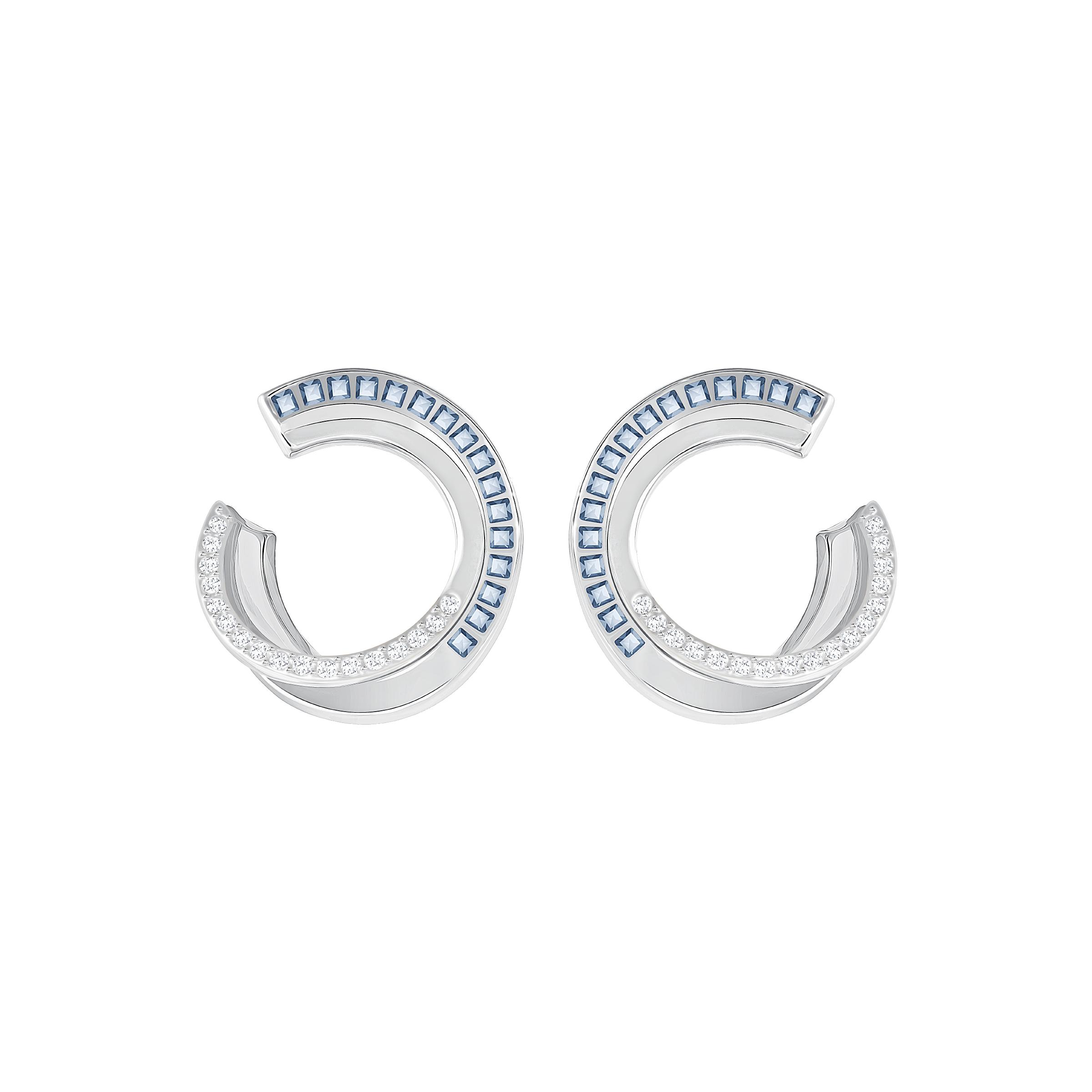 Hero Hoop Pierced Earrings, Blue, Rhodium Plating