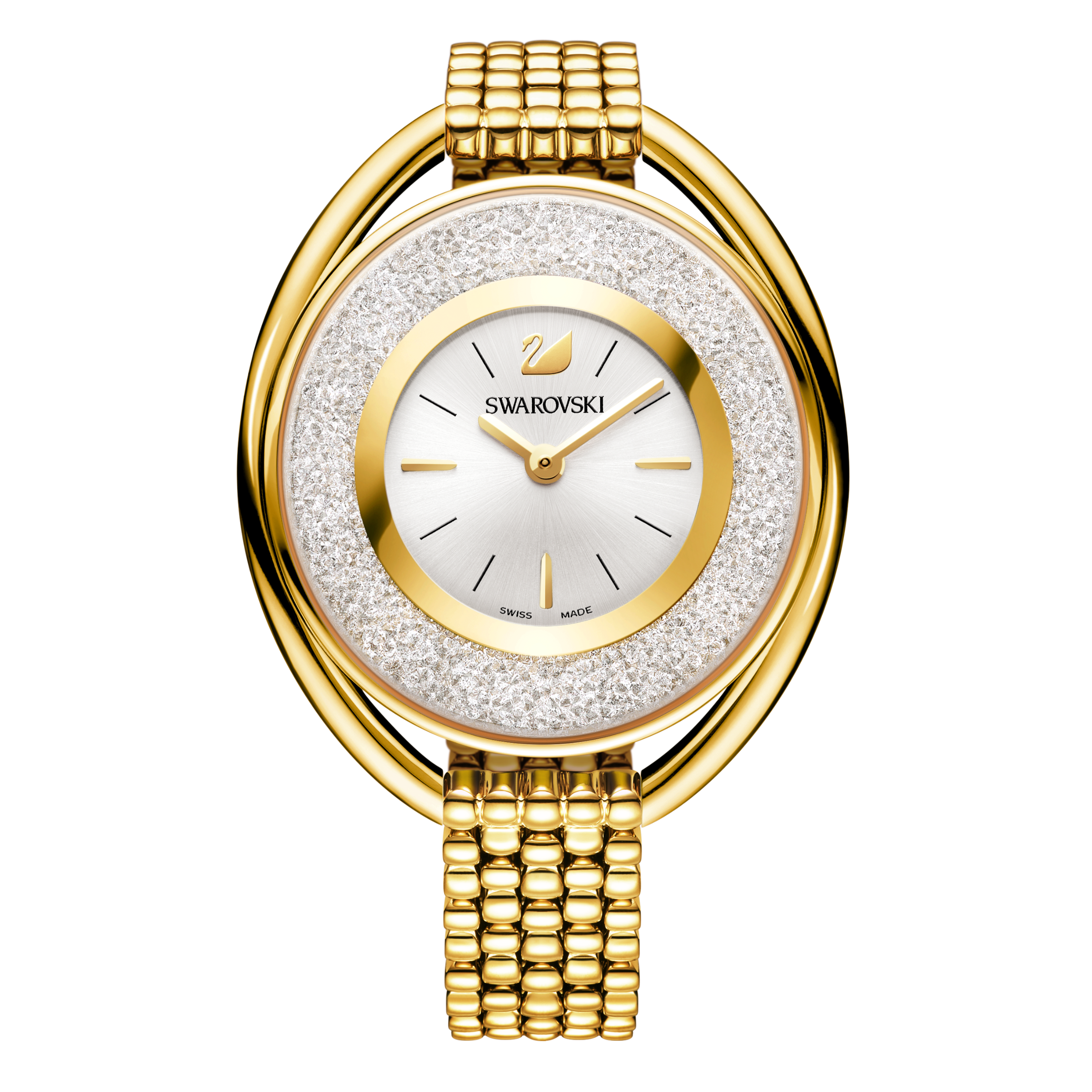 Crystalline Oval Bracelet Watch, Gold Tone