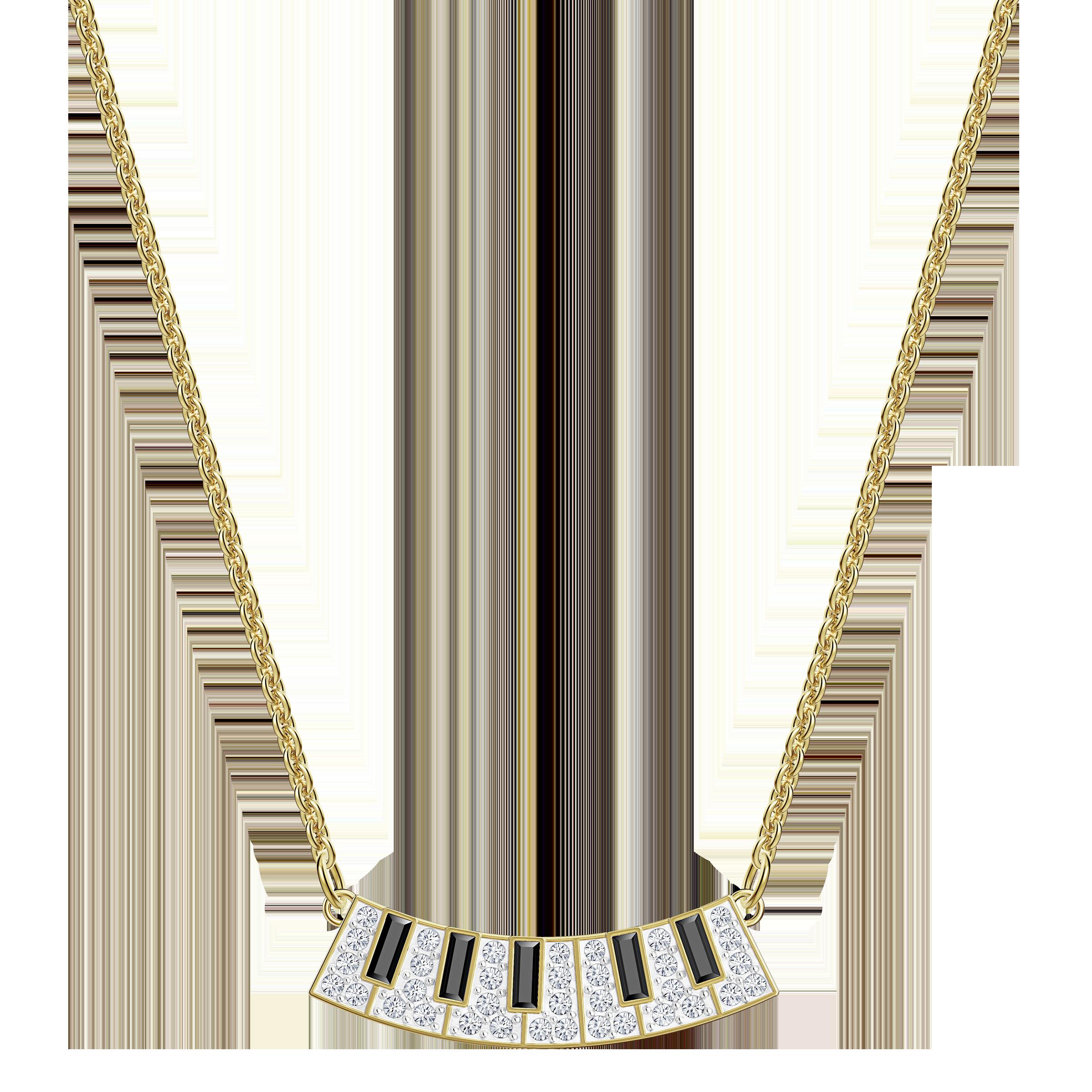 Pleasant Piano Necklace, Multi-colored, Gold-tone plated