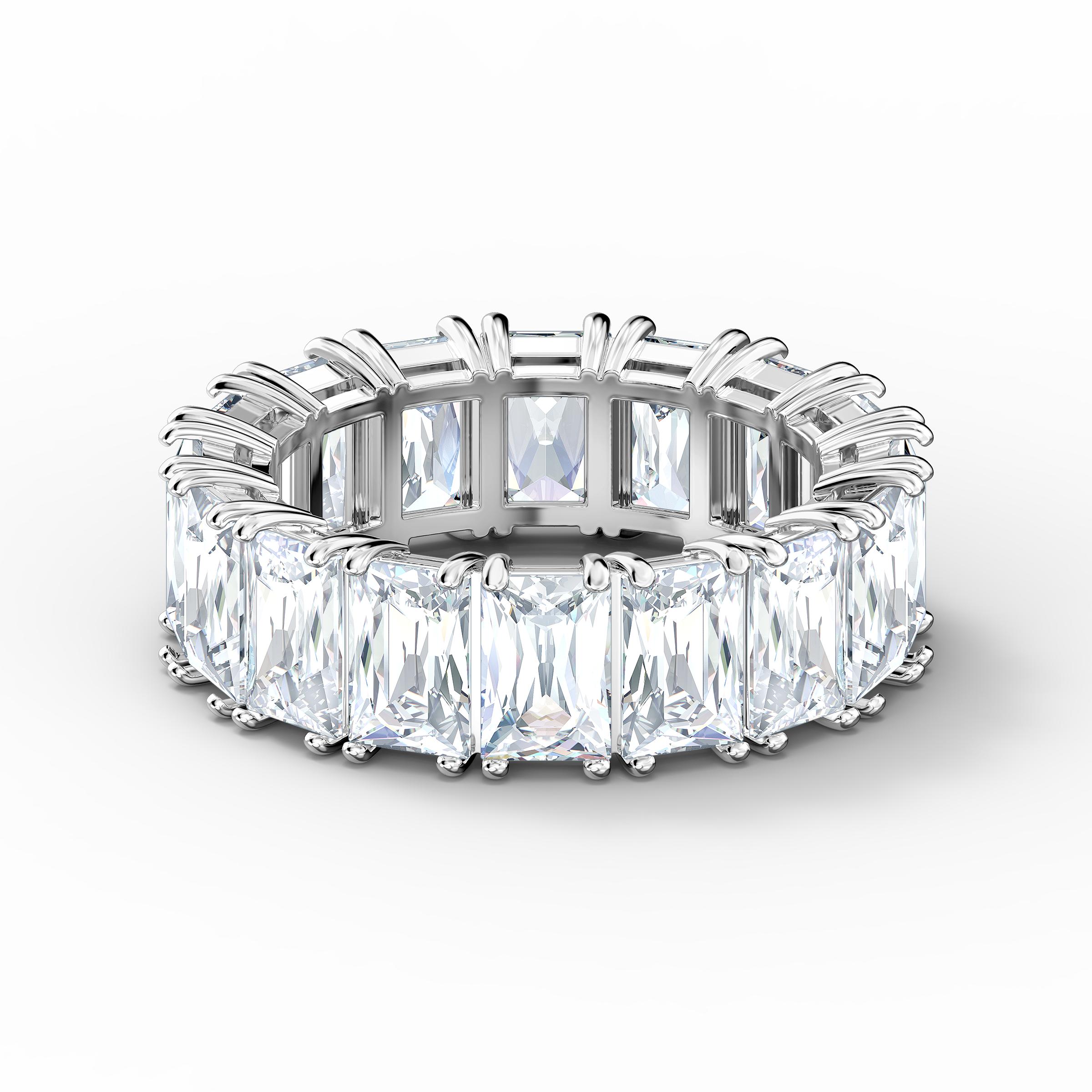 Vittore Wide Ring, White, Rhodium plated
