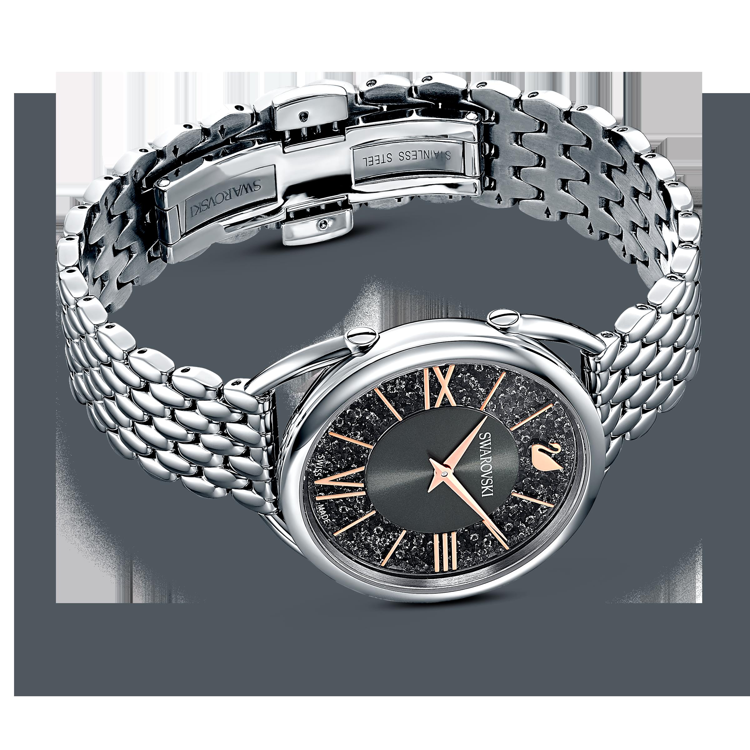 Crystalline Glam Watch, Metal Bracelet, Gray, Silver tone