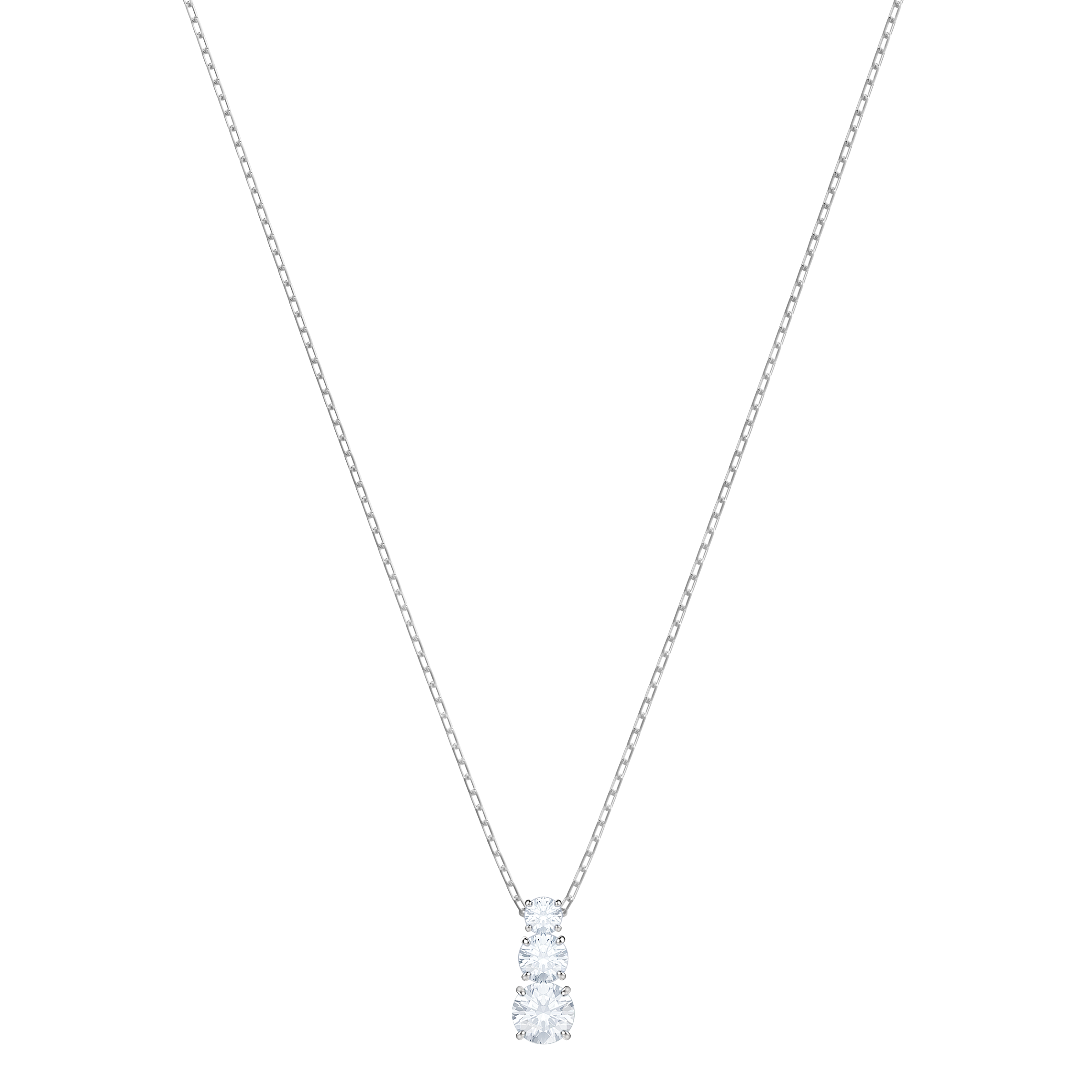Attract Trilogy Round Pendant, White, Rhodium Plating