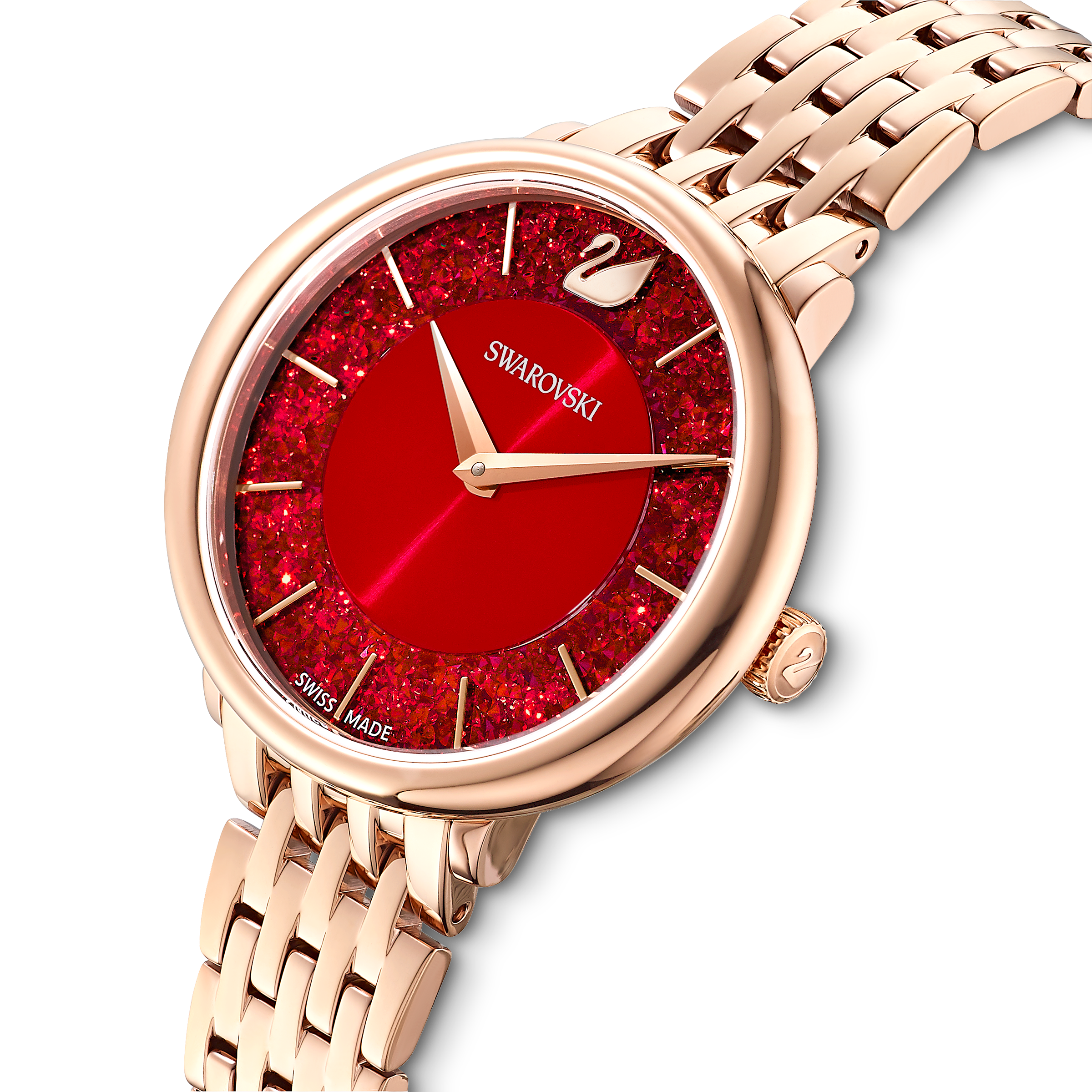Crystalline Chic Watch, Metal bracelet, Red, Rose-gold tone PVD