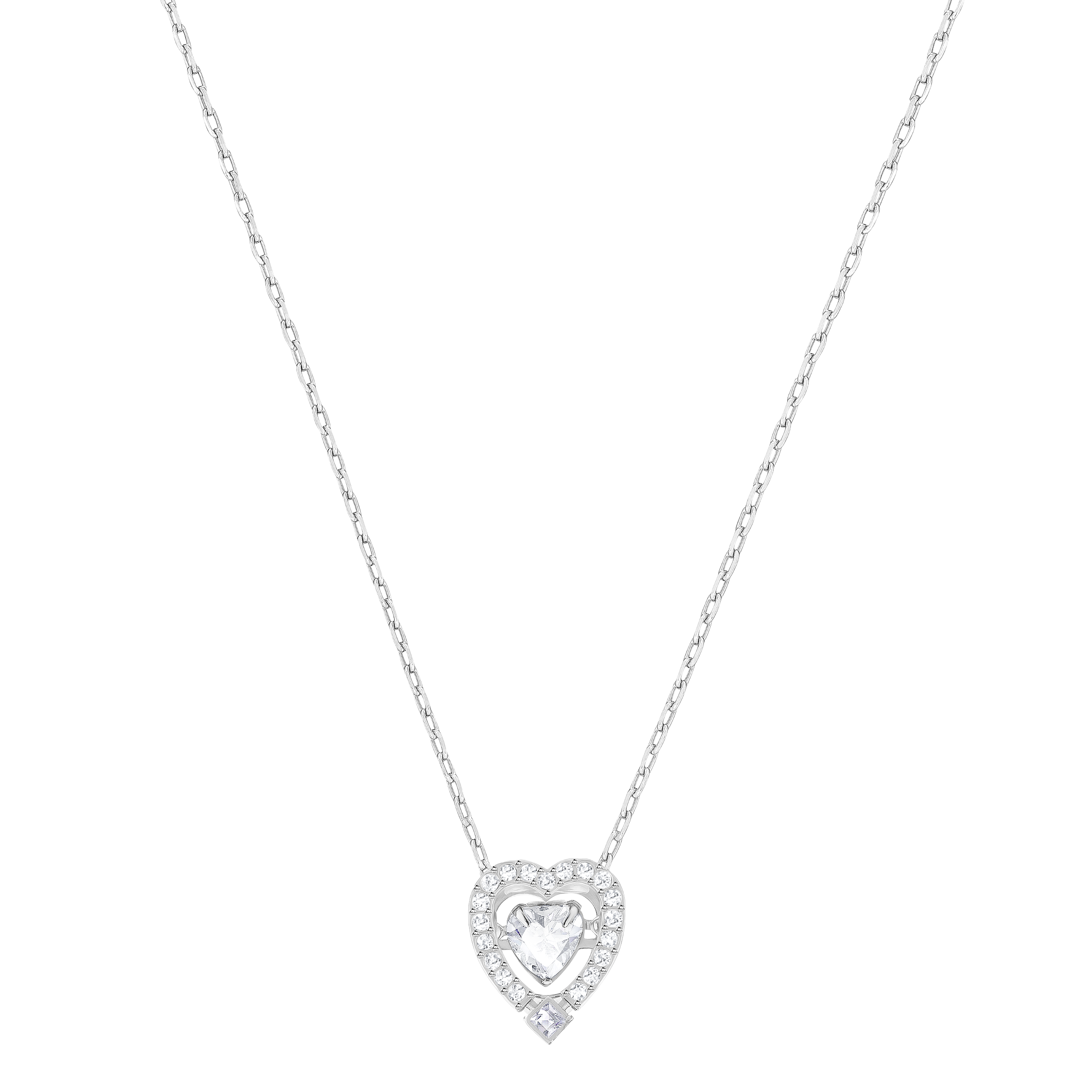 Sparkling Dance Heart Necklace, White, Rhodium Plated