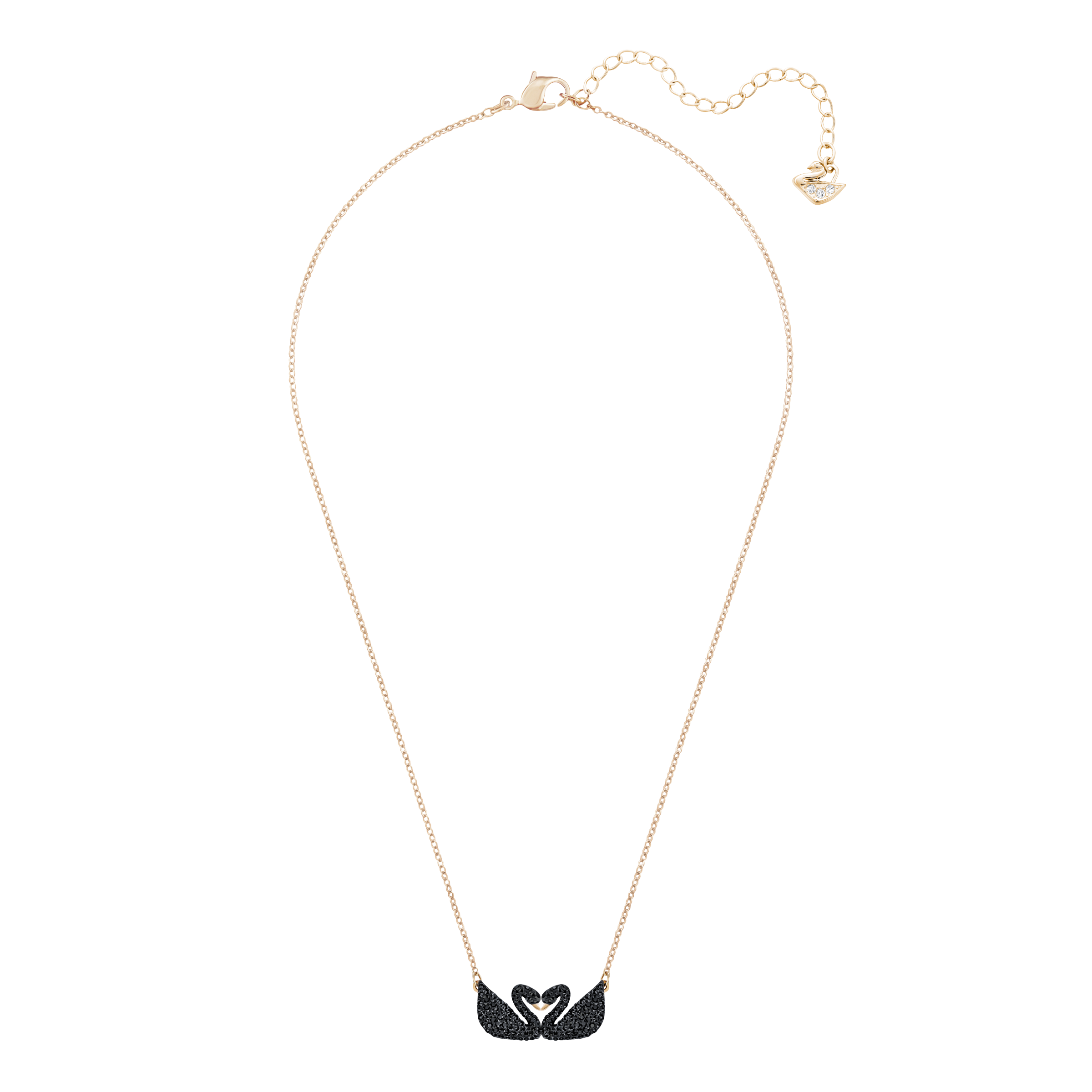 Iconic Swan Double Necklace, Black, Rose Gold Plating
