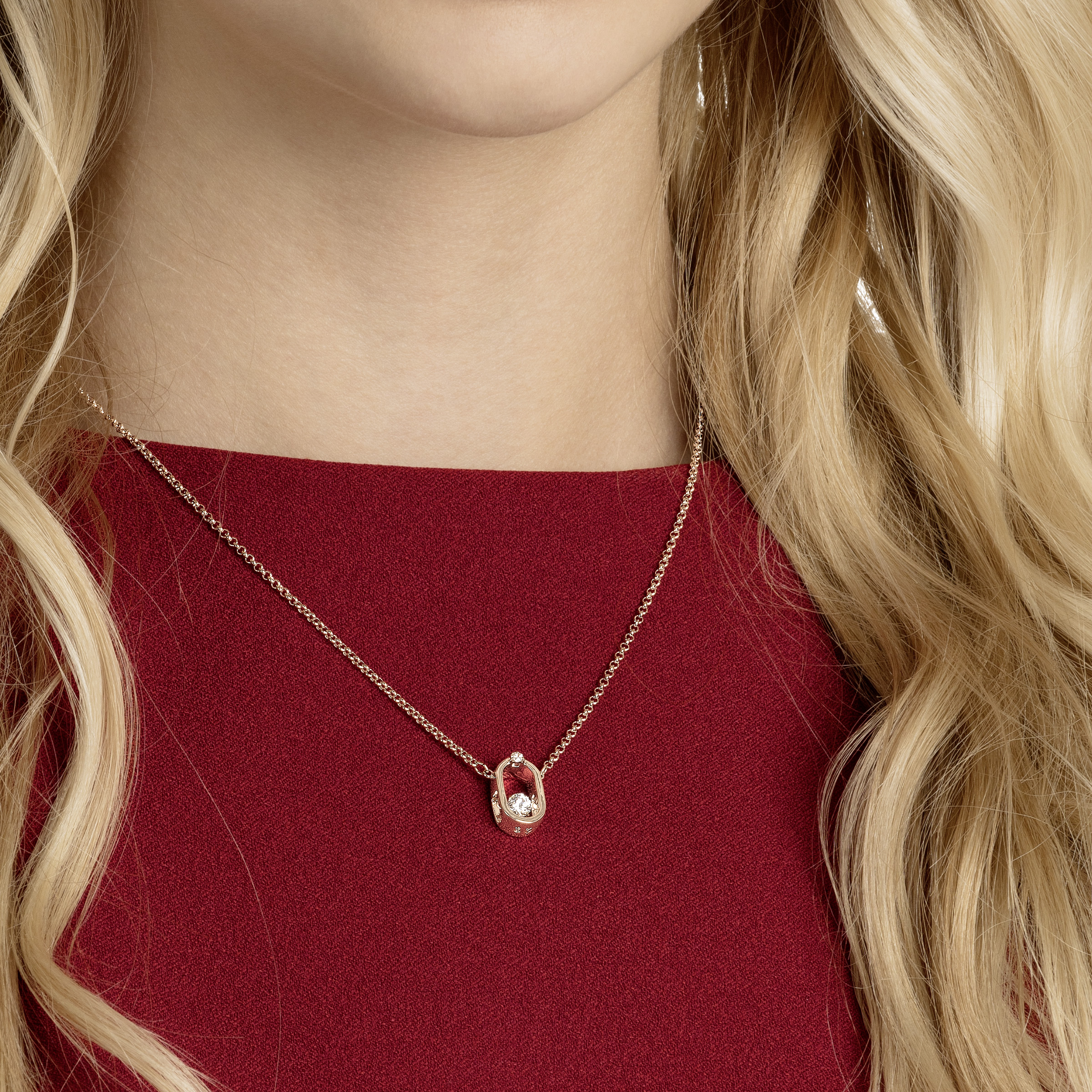 North Necklace, White, Rose gold plating