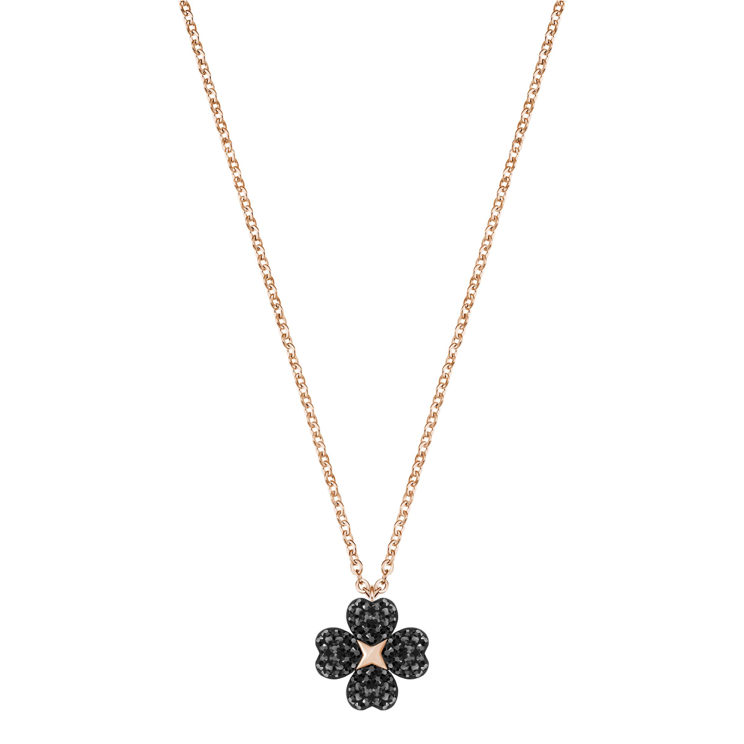 Latisha Flower Pendant, Black, Rose Gold Plating