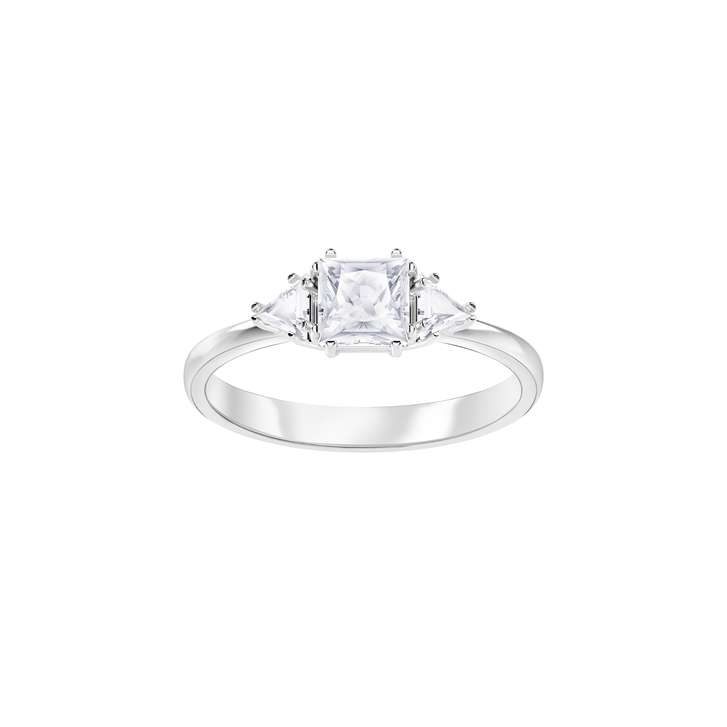 Attract Trilogy Ring, White, Rhodium Plating