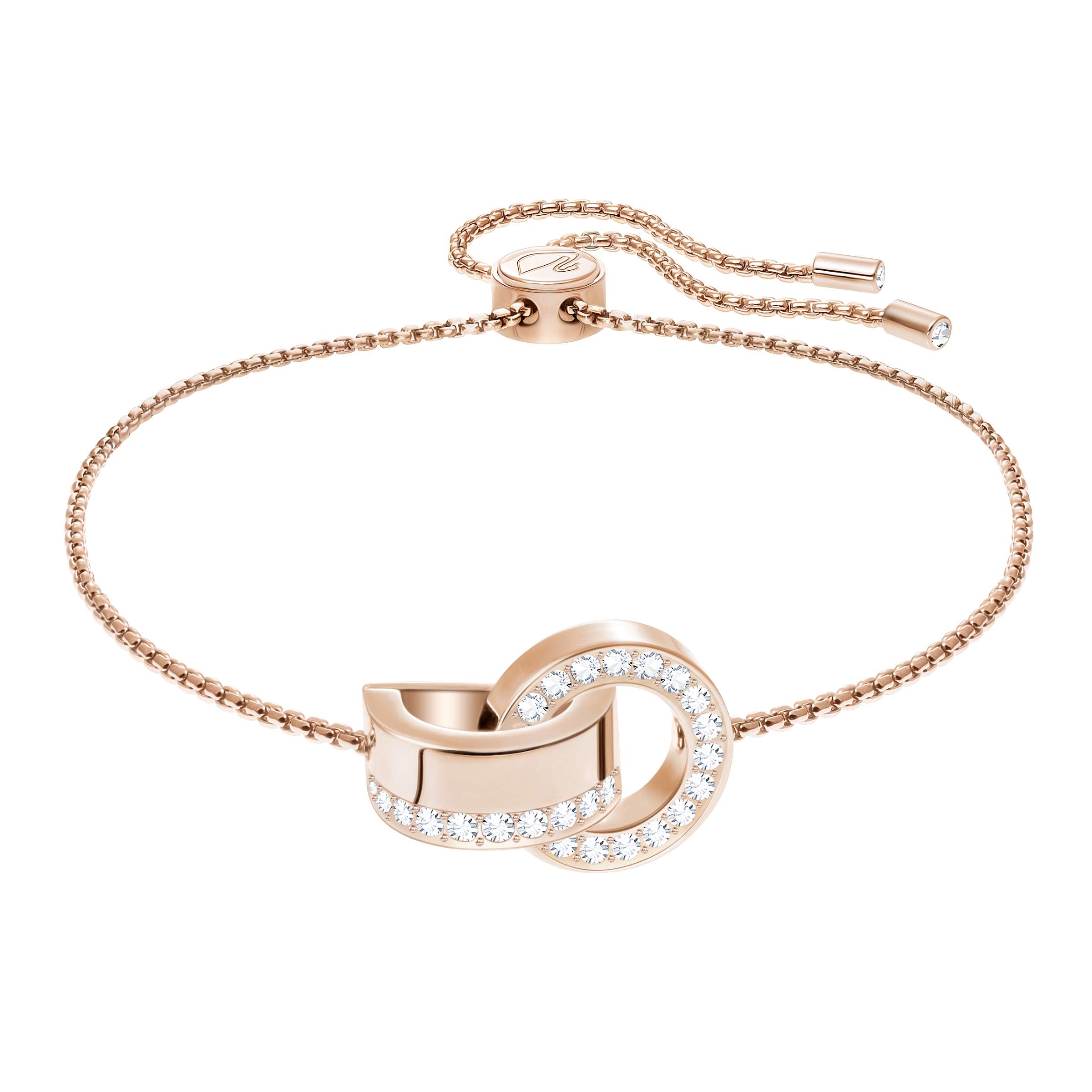 Hollow Bracelet, White, Rose Gold Plating