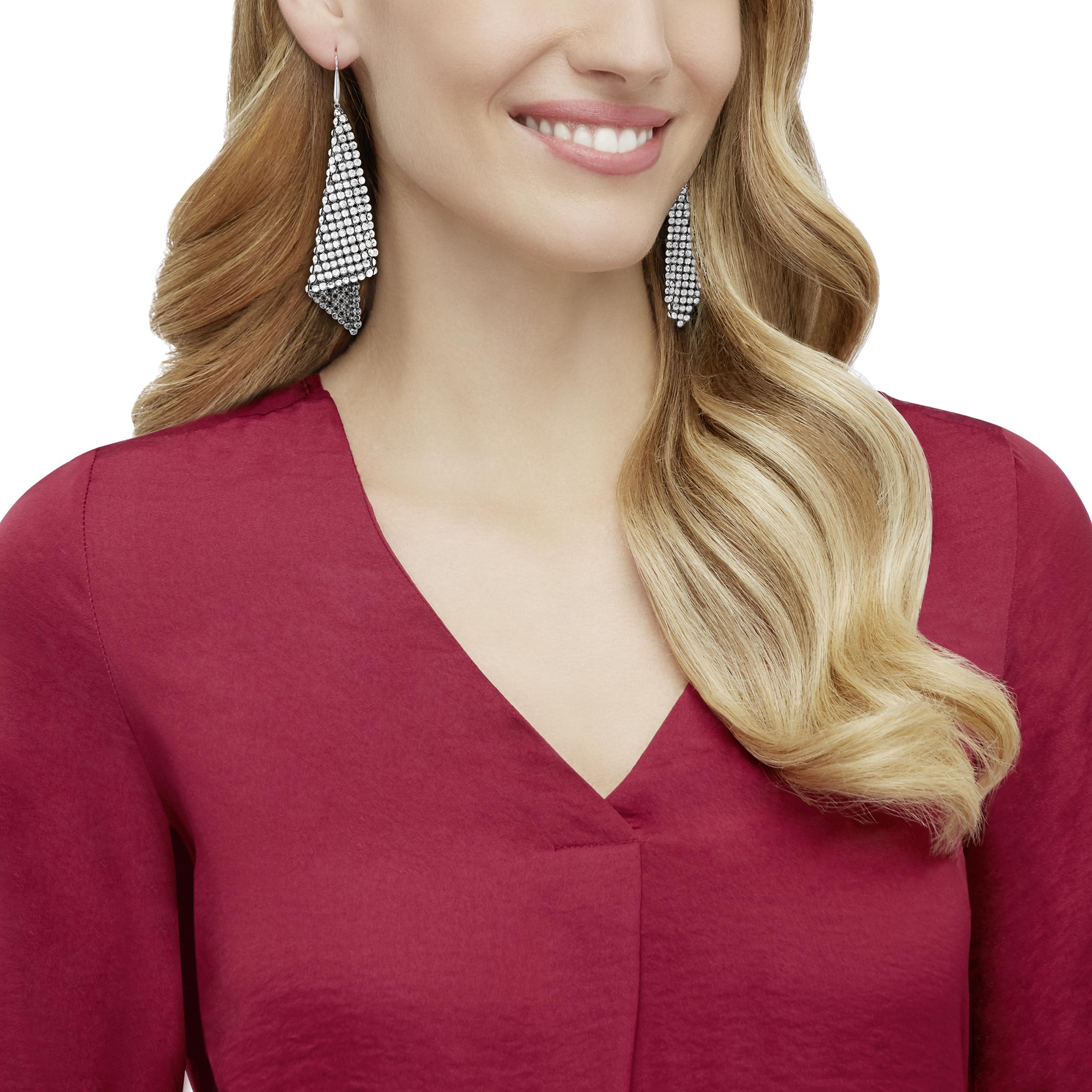 Fit Refresh Pierced Earrings, Gray, Rhodium Plated
