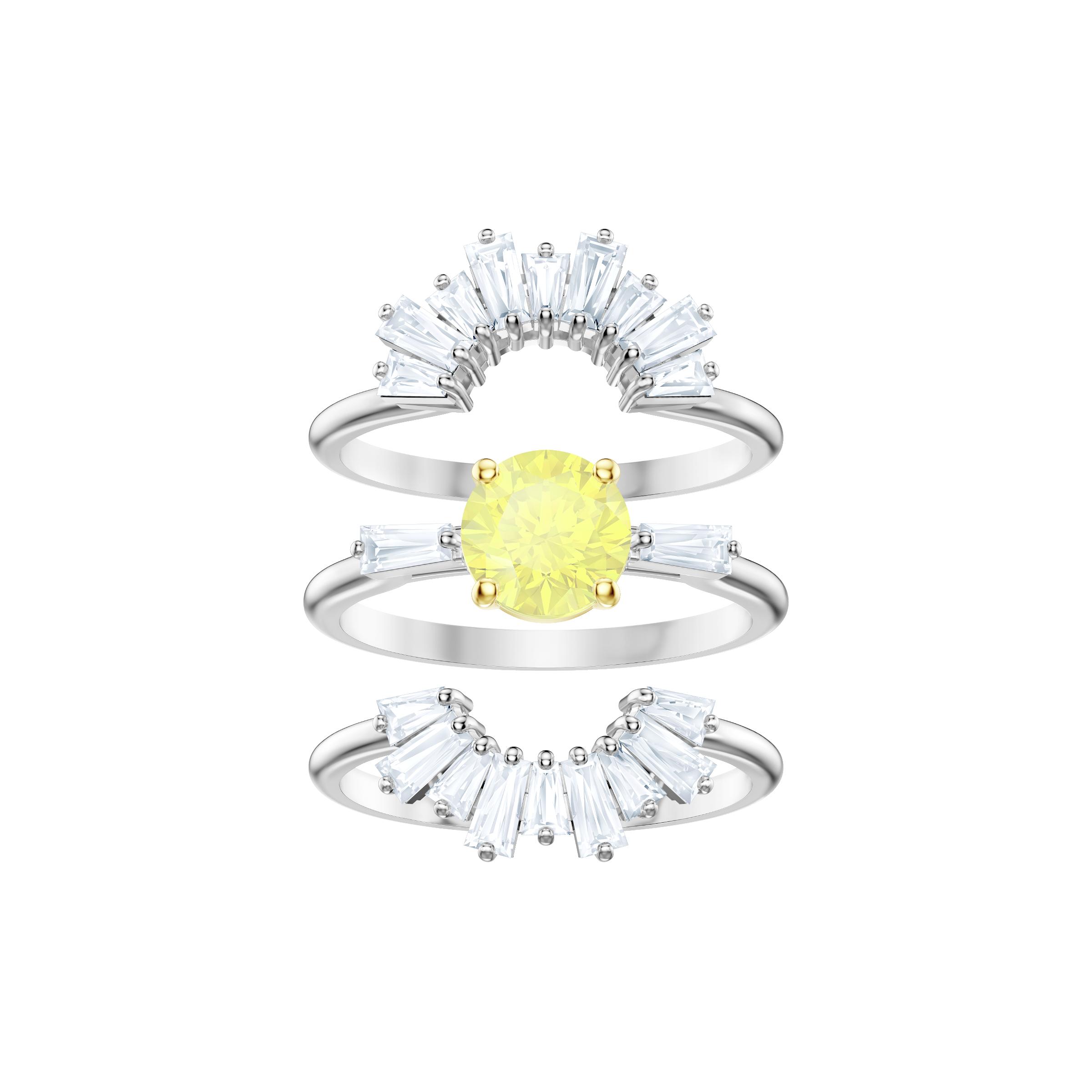 Sunshine Ring Set, White, Rhodium plating