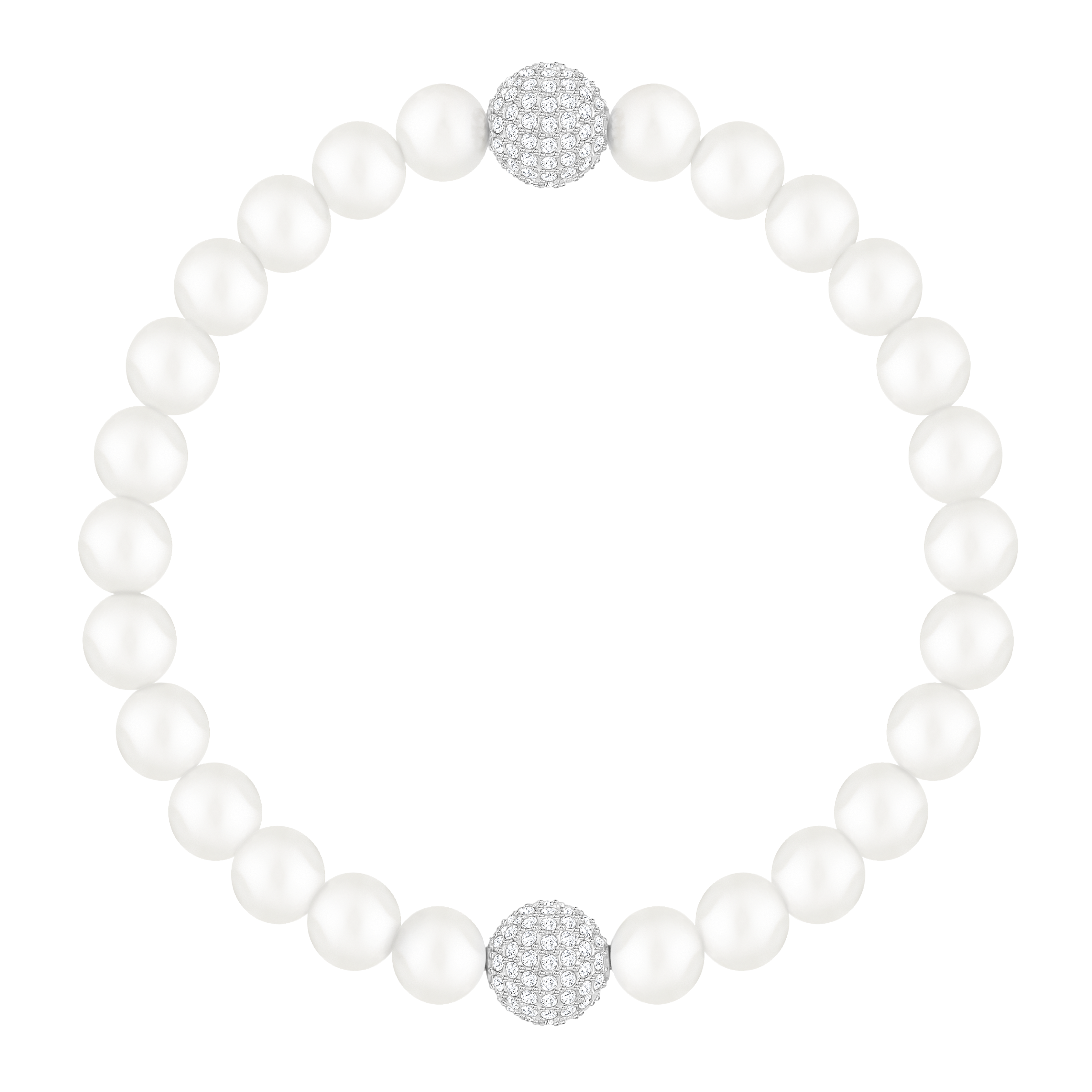 Swarovski Remix Collection Crystal Pearl Strand, White, Rhodium plated