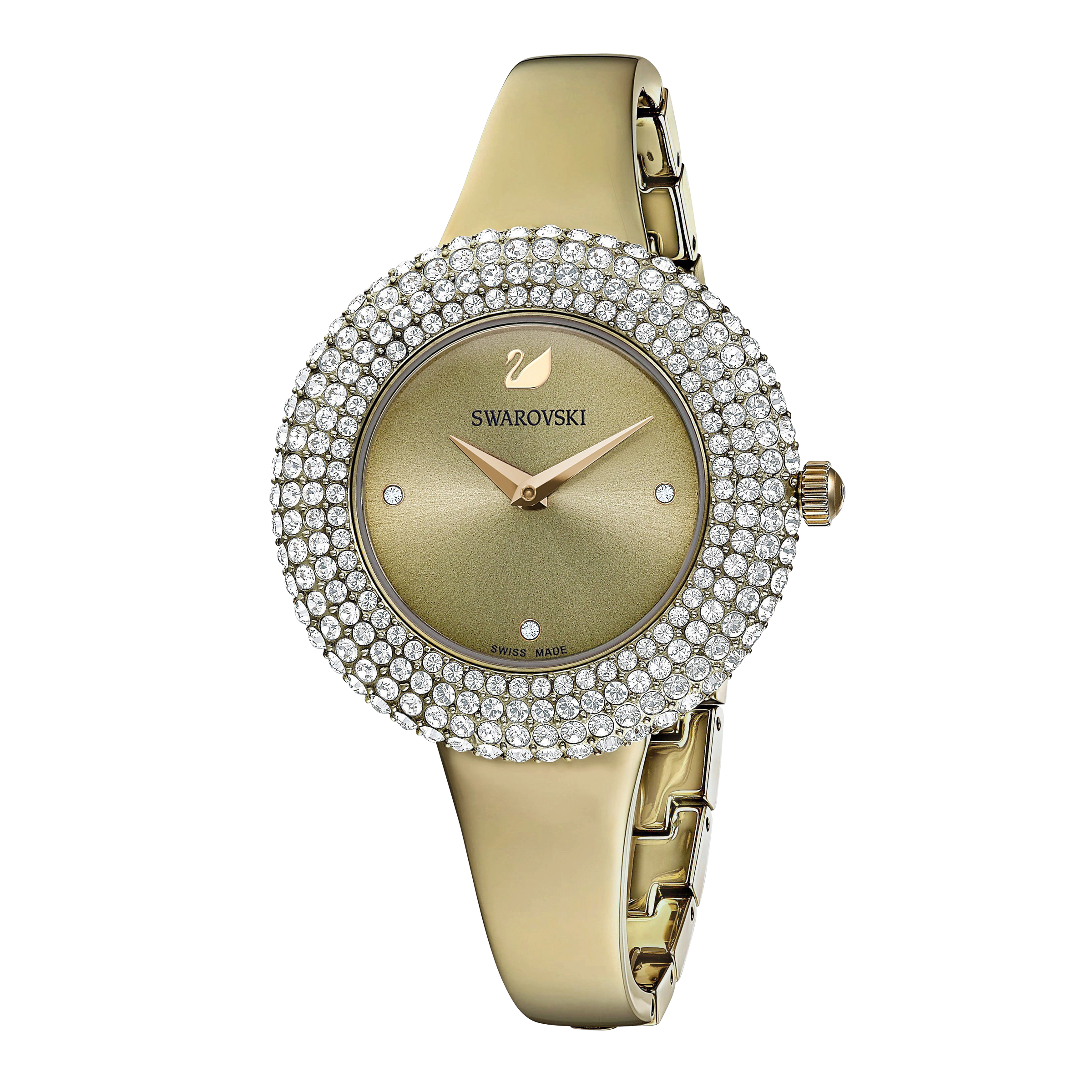 Crystal Rose Watch, Metal Bracelet, Gray, Champagne-gold tone PVD
