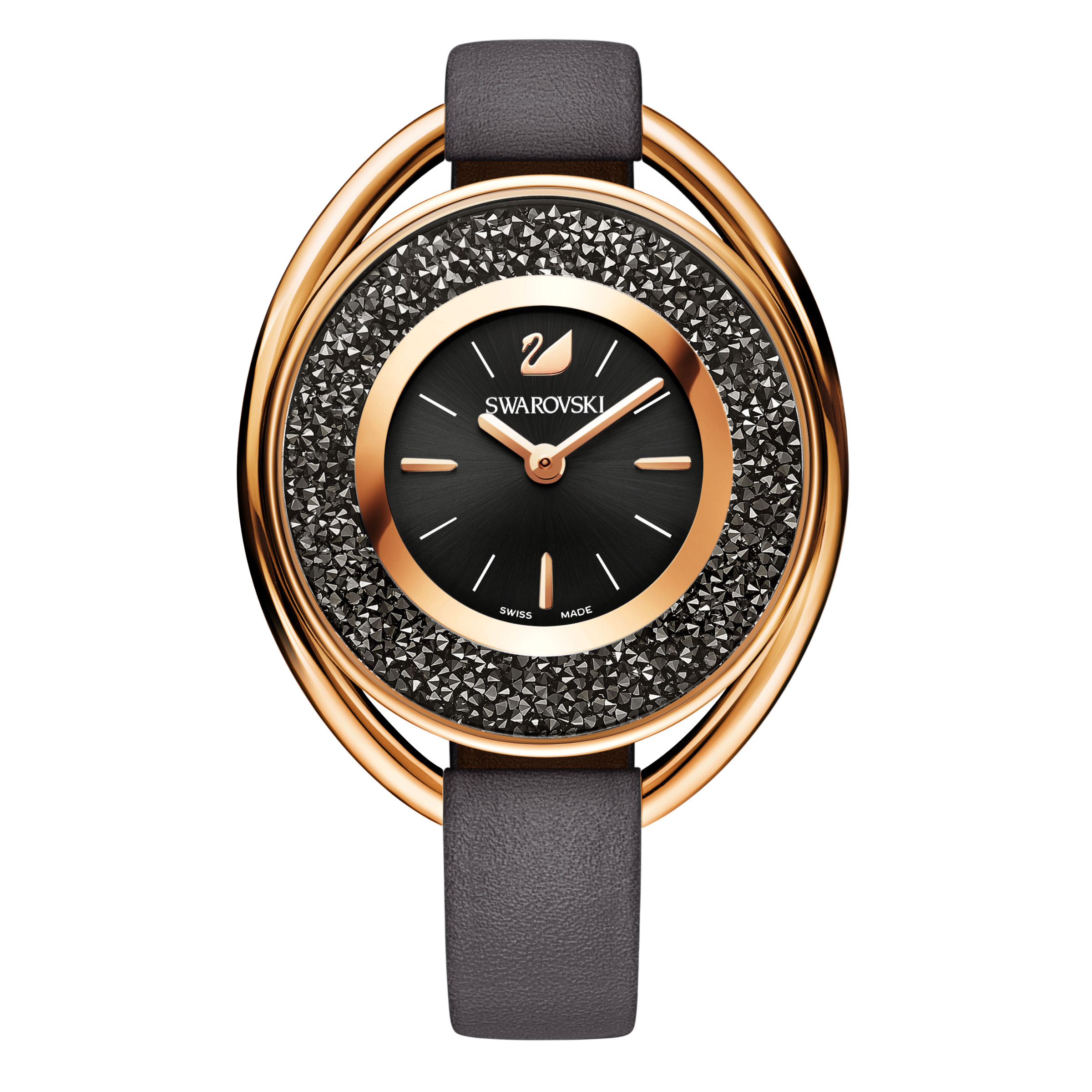 Crystalline  Oval Watch, Gray, Rose Gold Tone