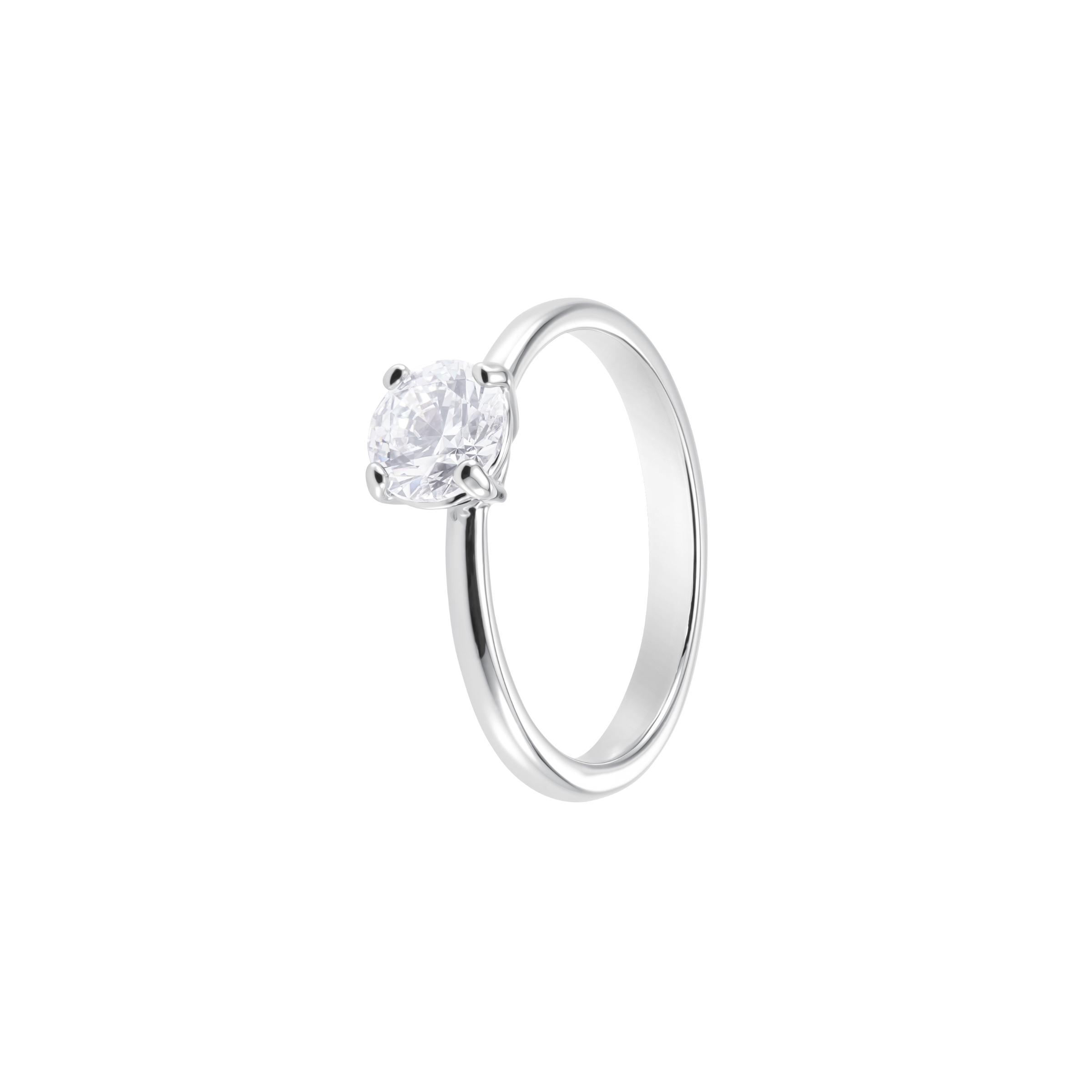 Attract Round Ring, White, Rhodium Plating