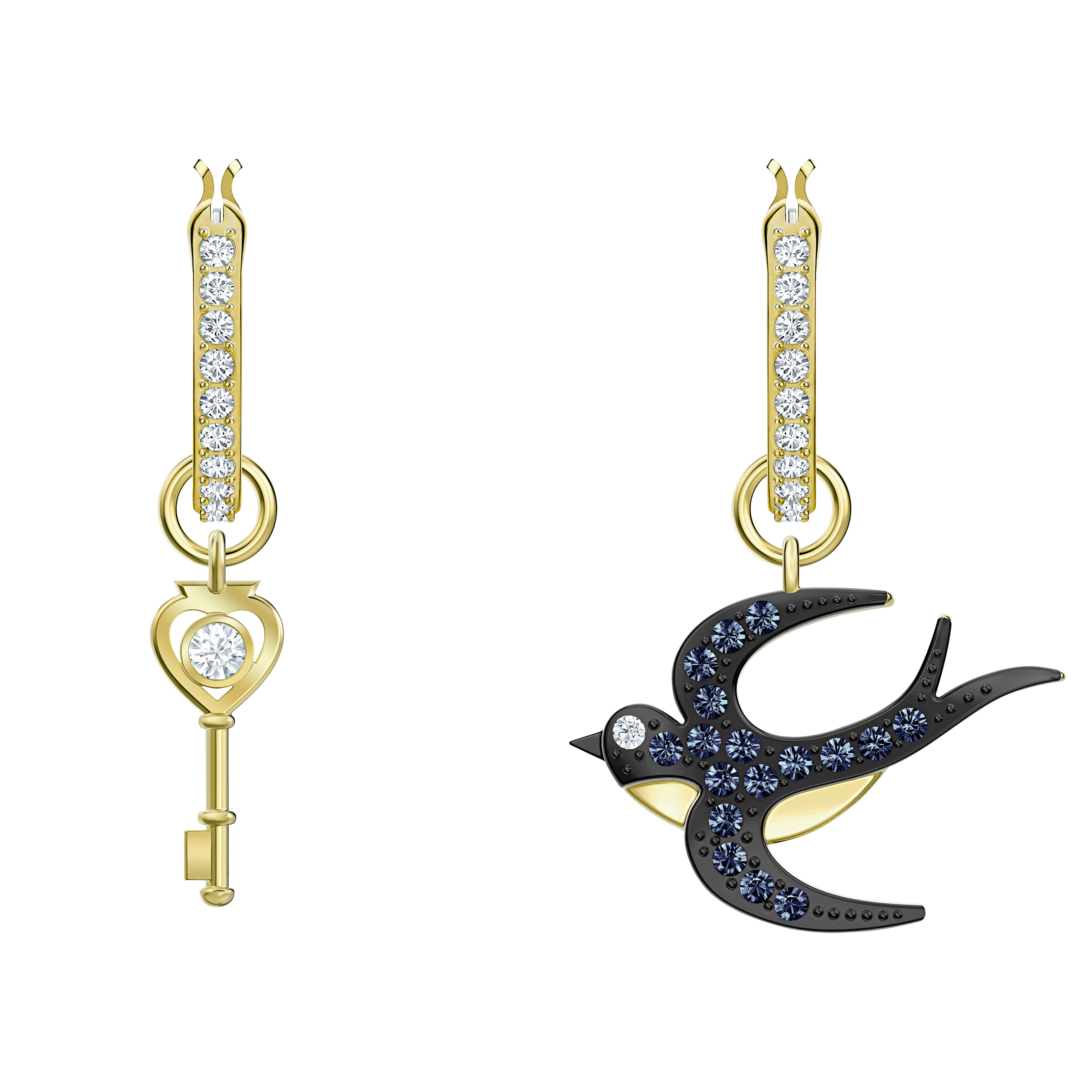Tarot Magic Hoop Pierced Earrings, Blue, Gold-tone plated