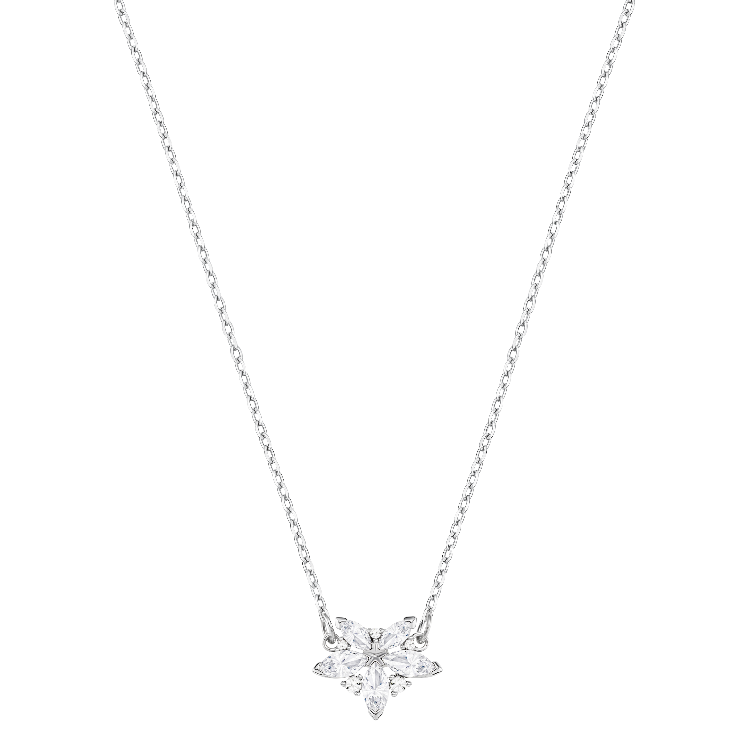 Lady Necklace, White, Rhodium plated