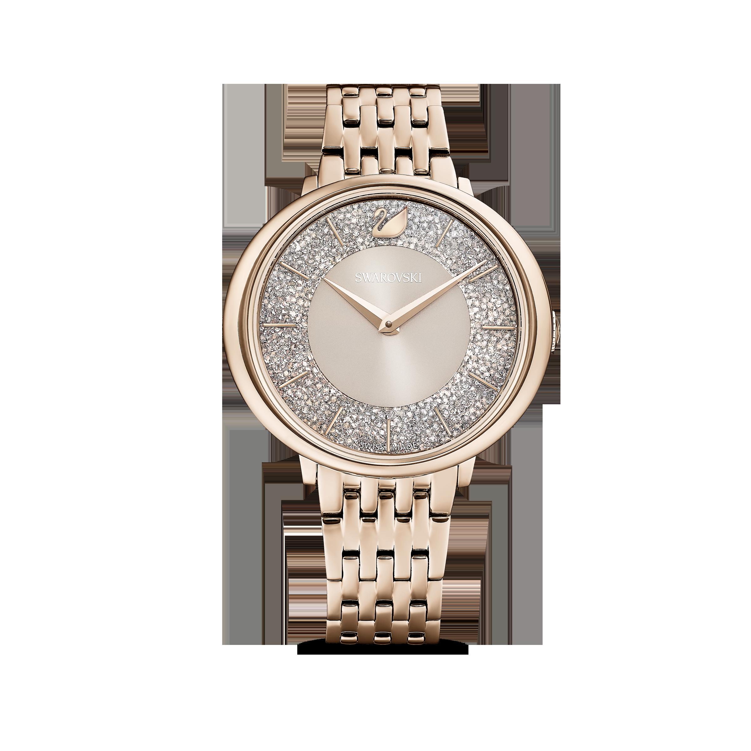 Crystalline Chic Watch, Metal bracelet, Grey, Champagne-gold tone PVD
