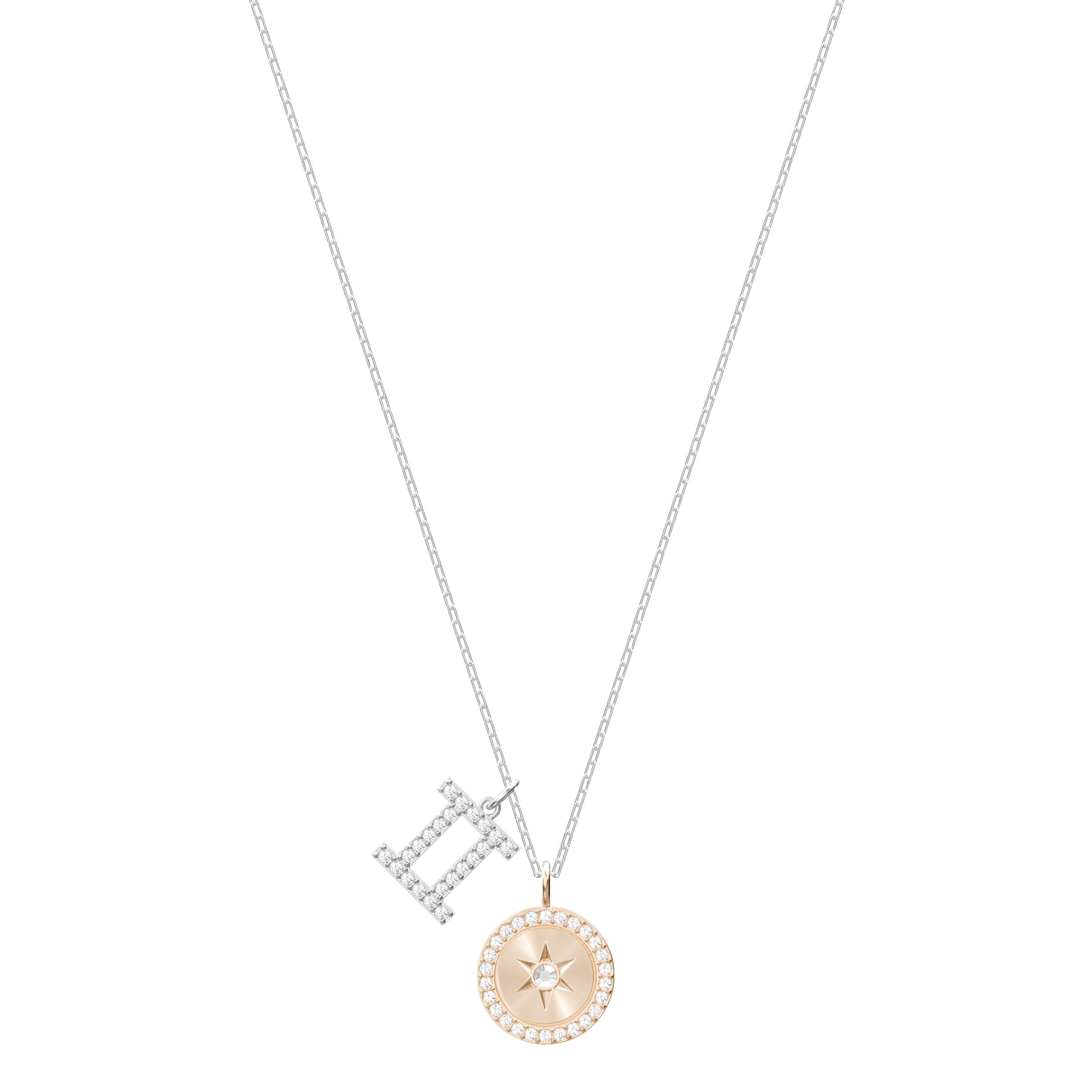 Zodiac Pendant, Gemini, Gray, Rhodium Plating
