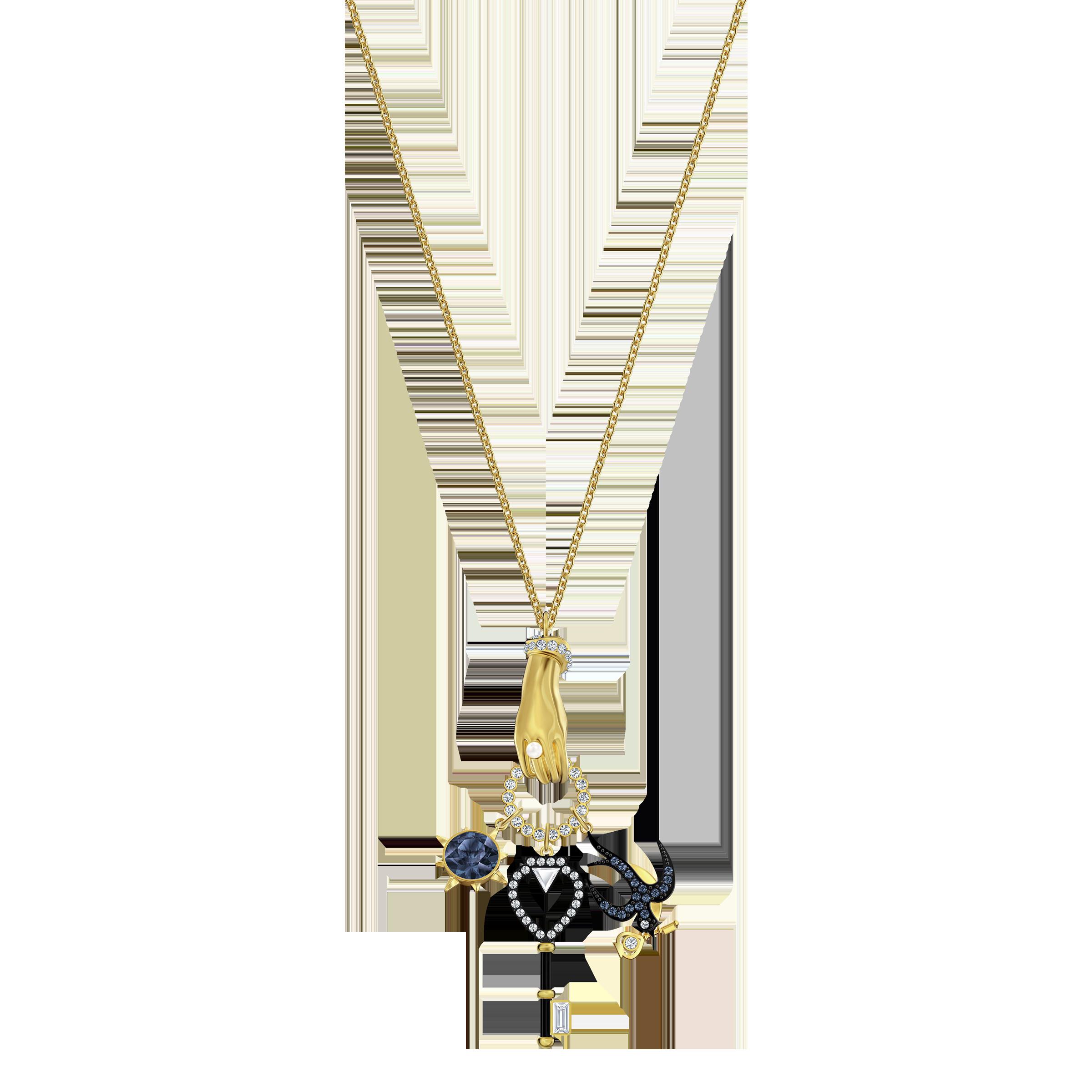 Tarot Magic Charm Pendant, Multi-colored, Gold-tone plated