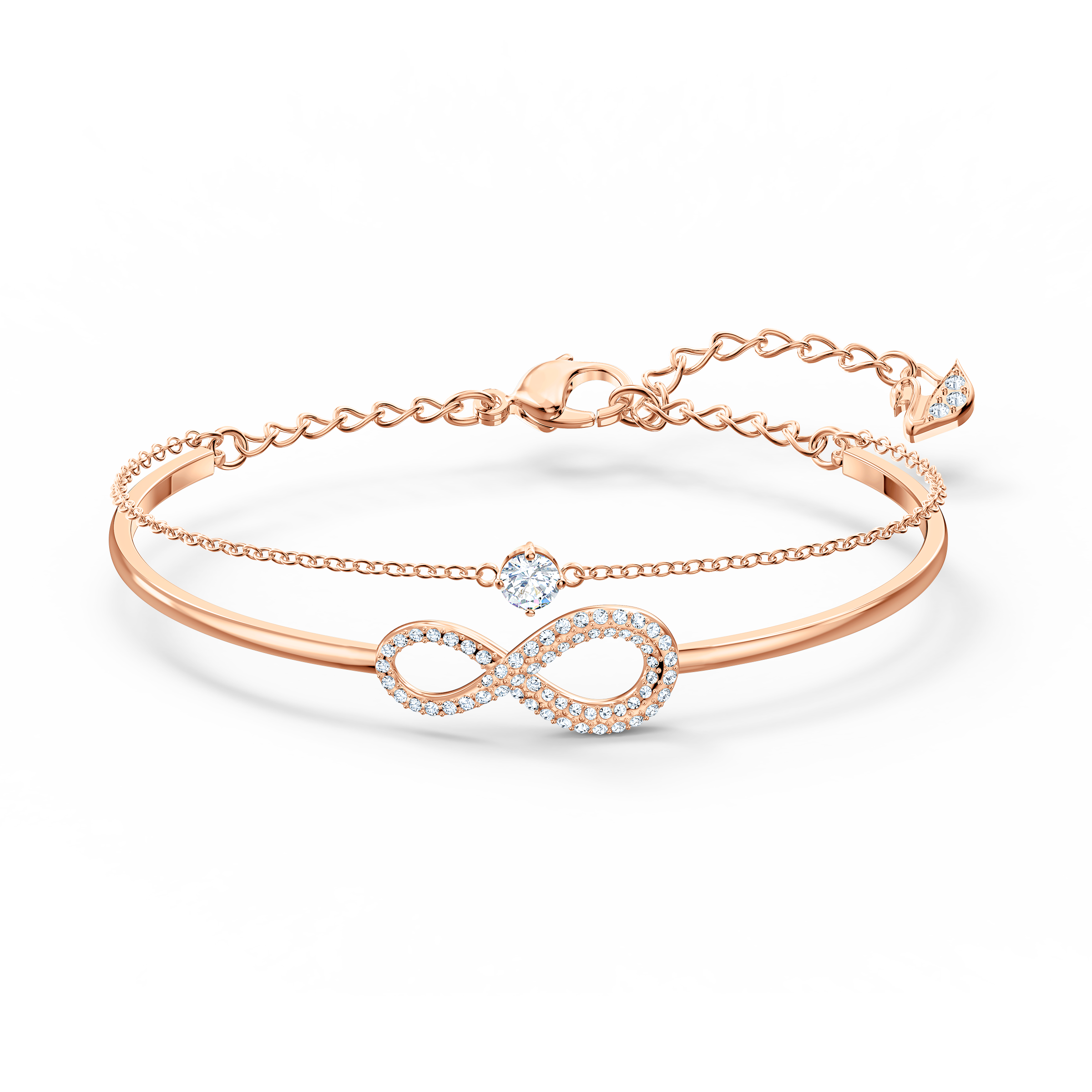 Swarovski Infinity Bangle, White, Rose-gold tone plated