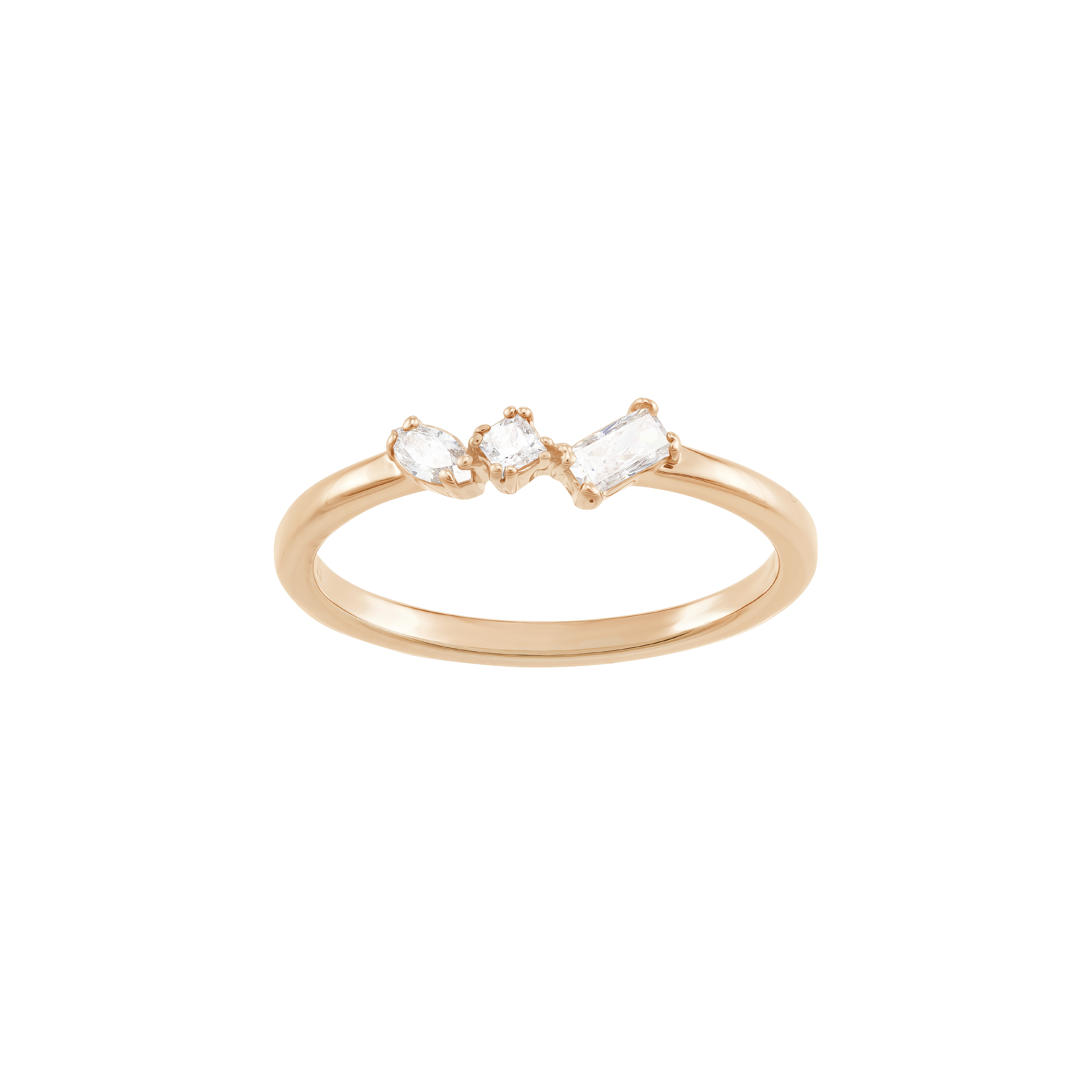 Frisson Ring, White, Rose-gold tone plated