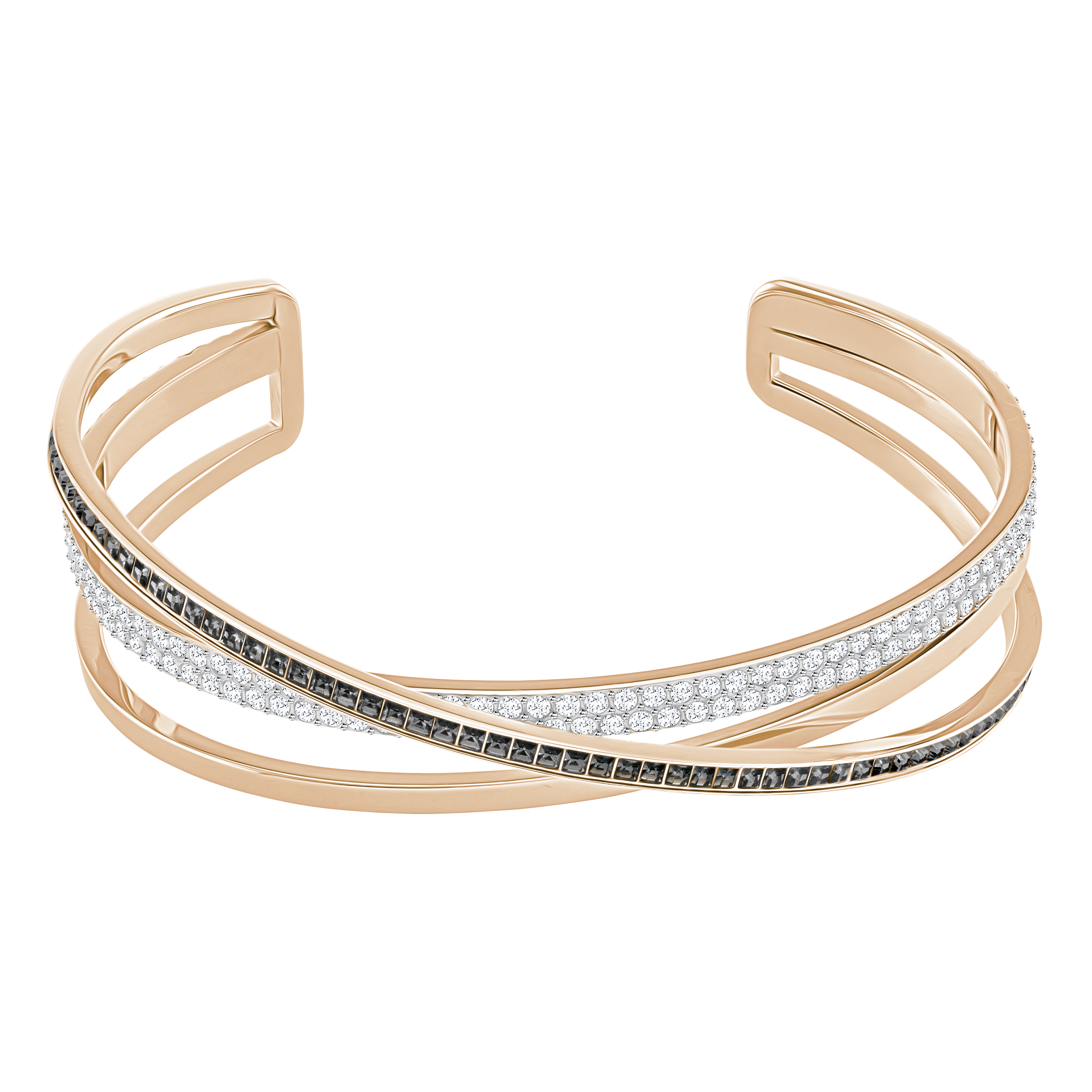 Hero Cuff, Gray, Rose-gold tone plated