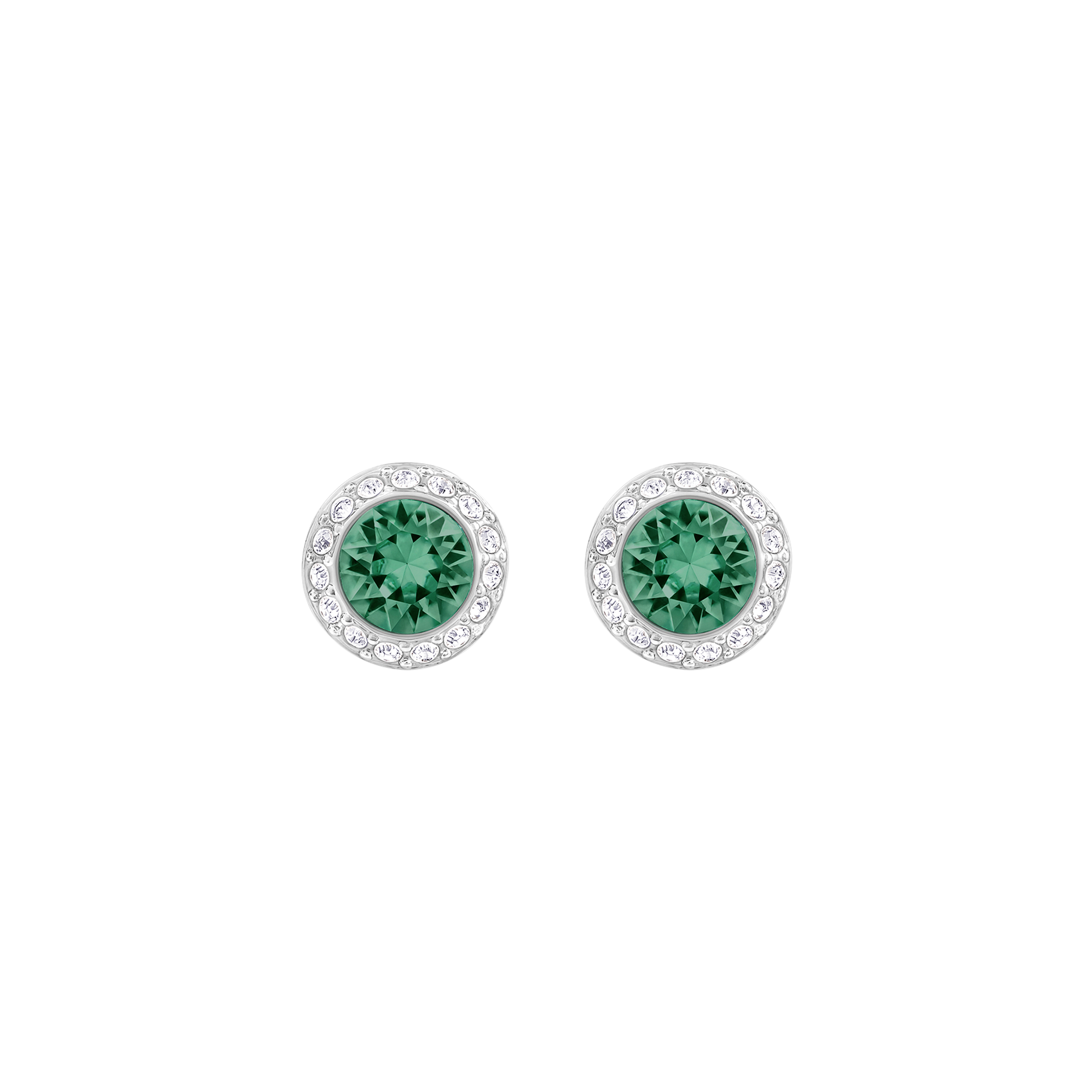 Angelic Pierced Earrings, Green, Rhodium Plating