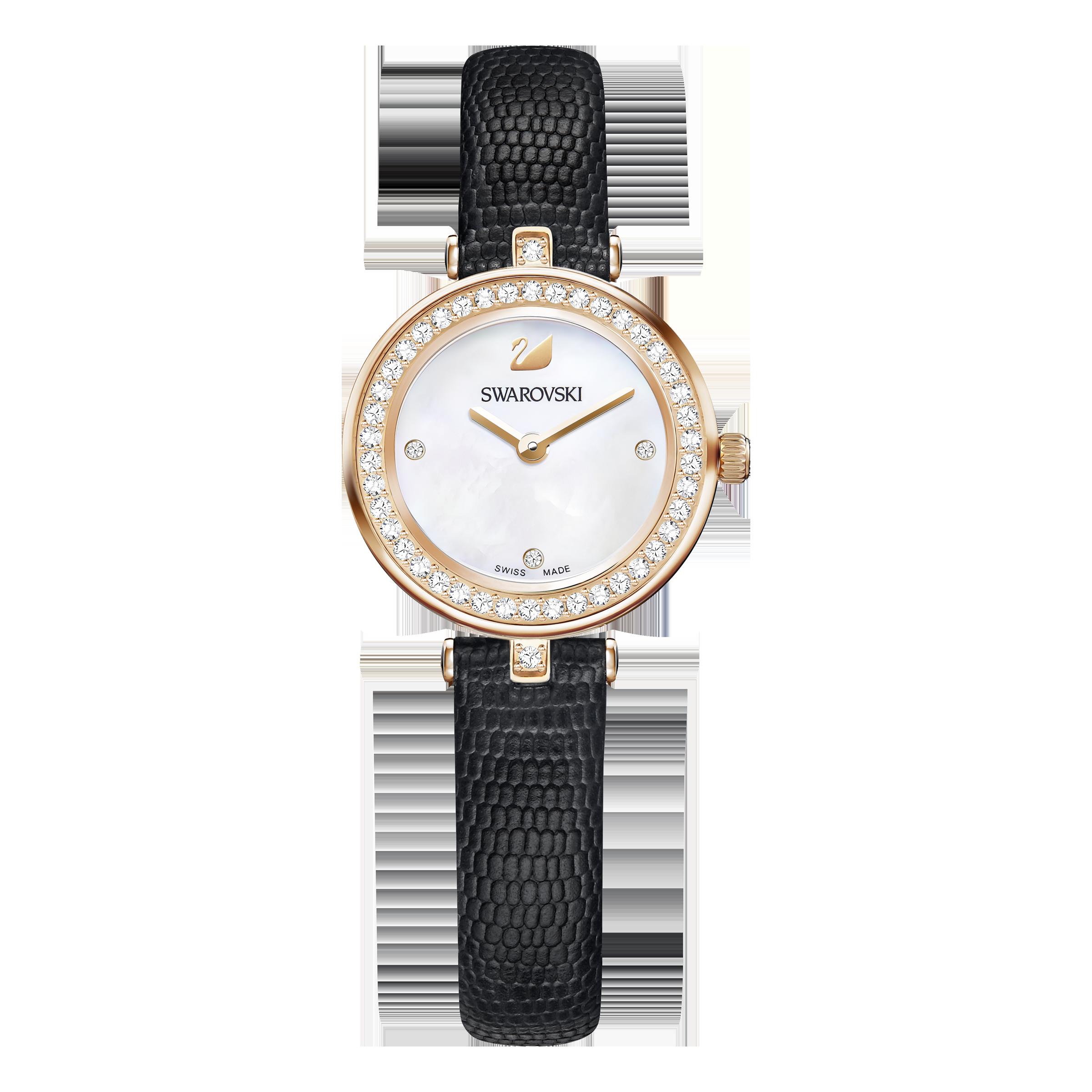 Aila Dressy Mini Watch, Leather strap, Black, Rose-gold tone PVD