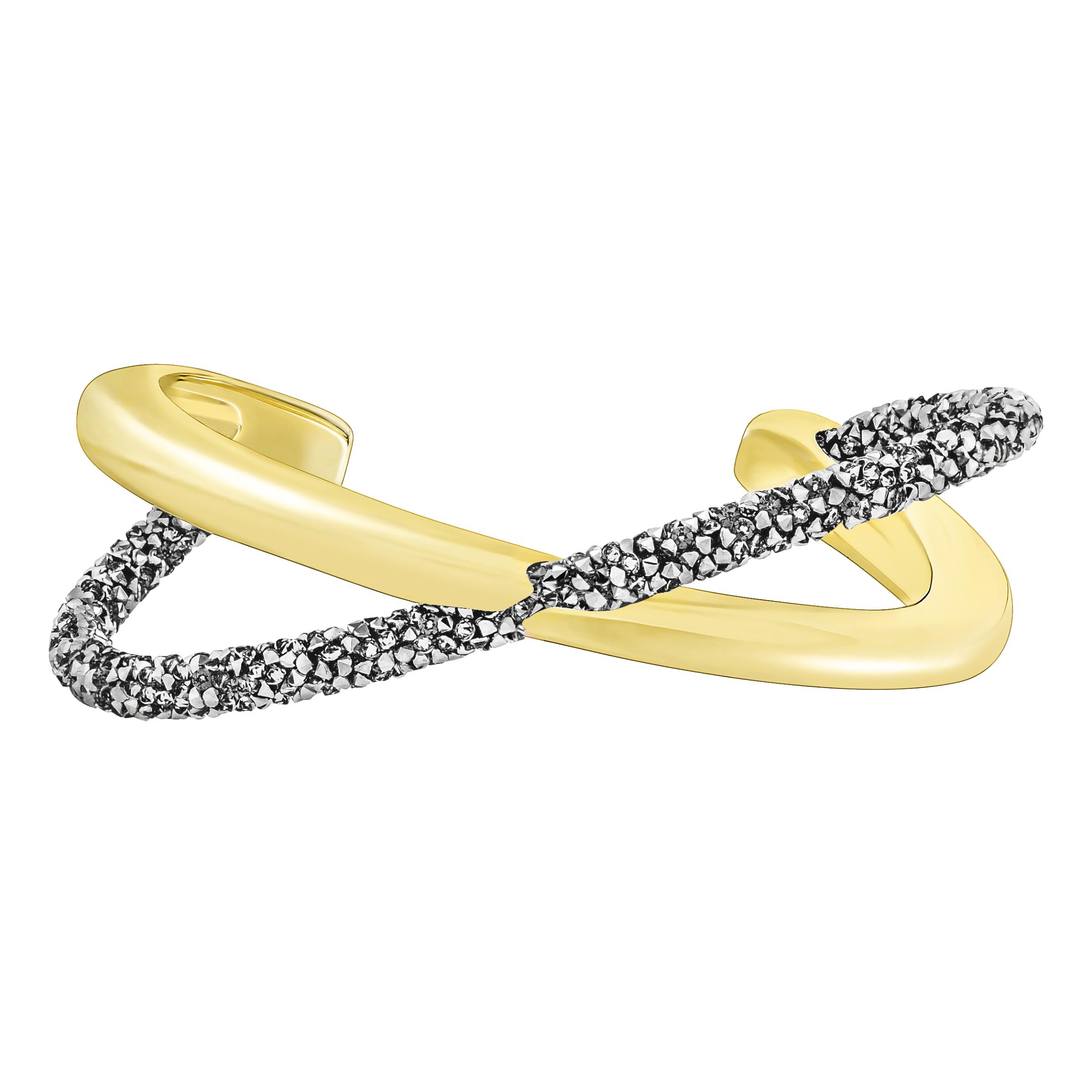 Crystaldust Cross Cuff, Gray, Gold-tone plated