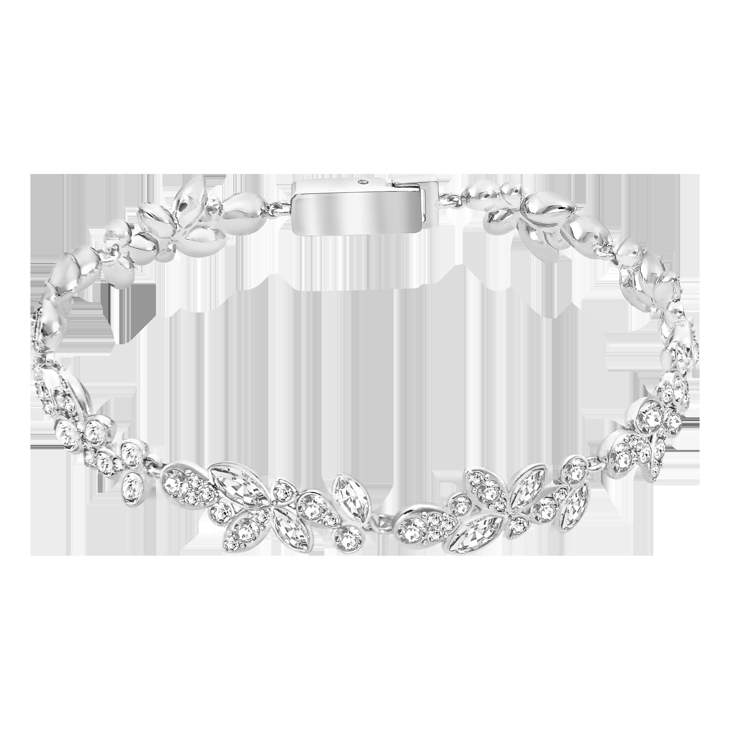 Diapason Bracelet, White, Rhodium Plating
