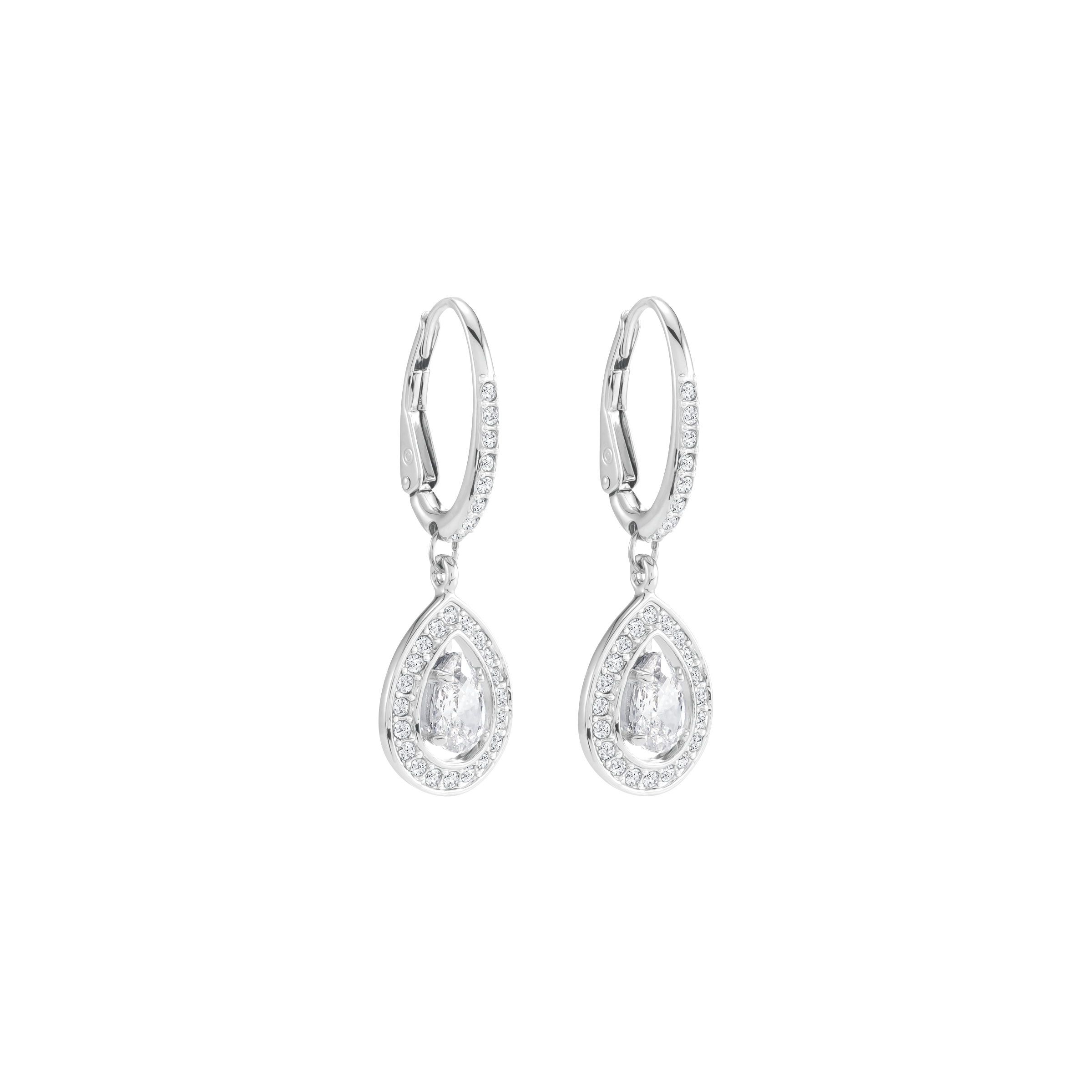 Attract Light Pear Pierced Earrings, White, Rhodium Plating
