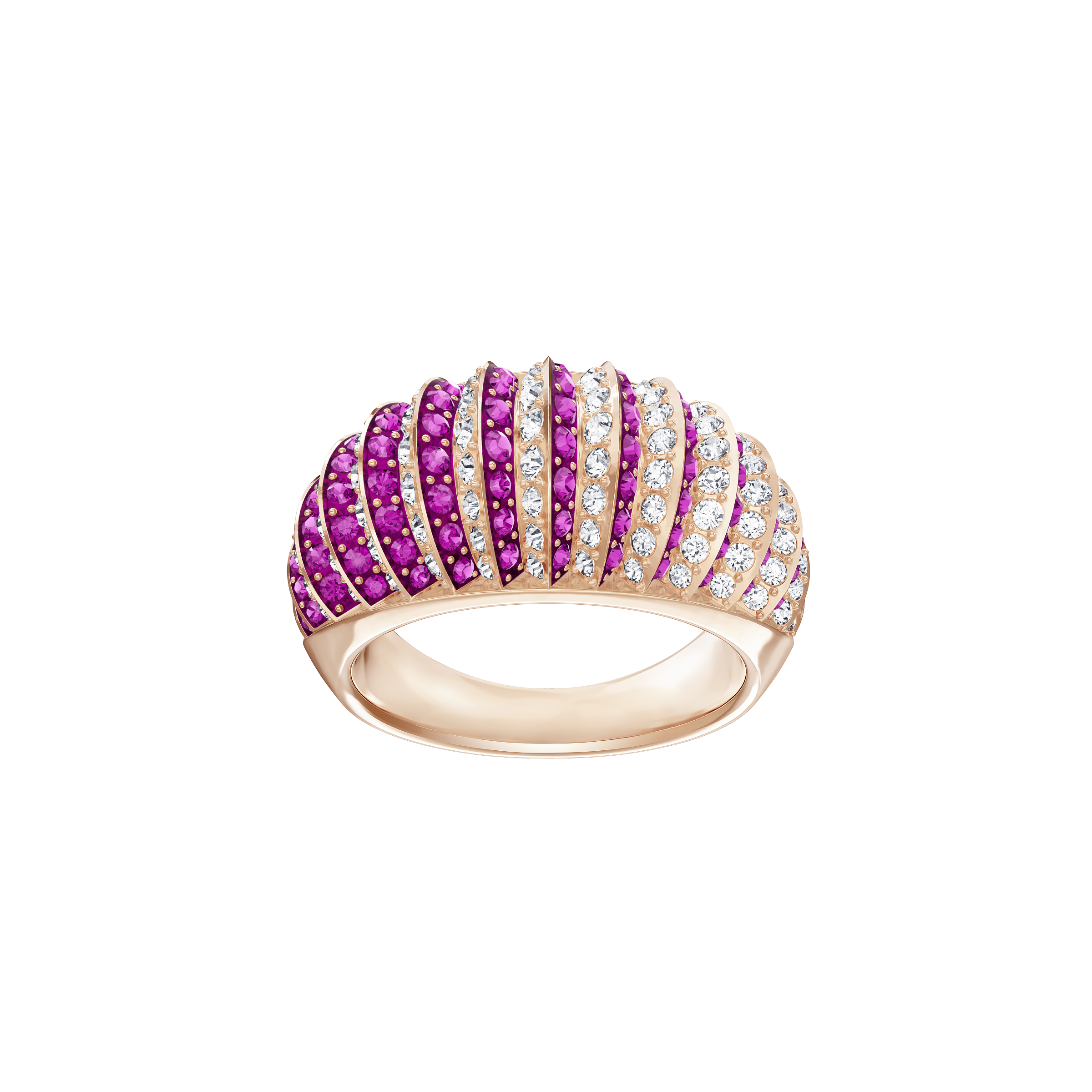 Luxury Domed Ring, Pink, Rose-gold tone plated