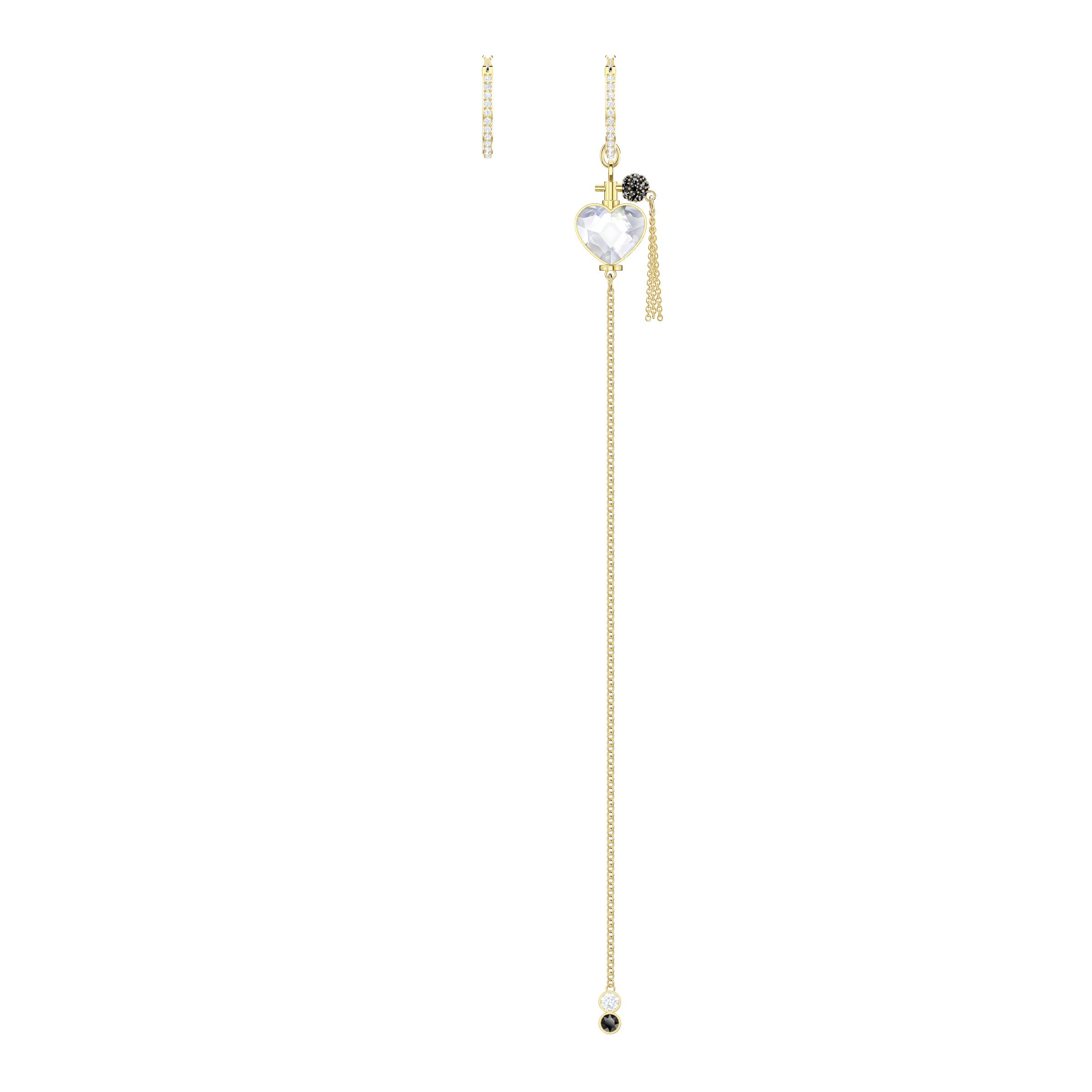 Mine Pierced Earrings, Multi-colored, Gold-tone plated