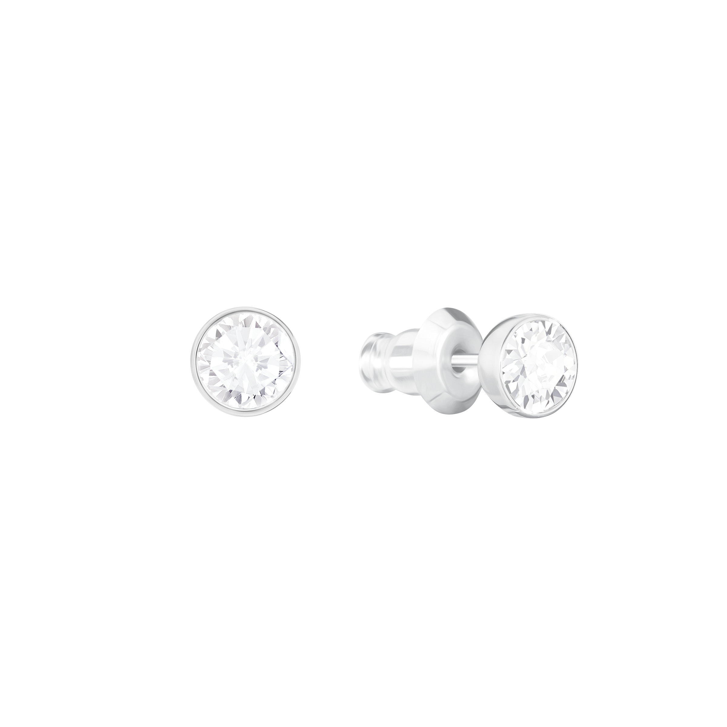 Swan Lake Pierced Earring Jackets, White, Rhodium Plating