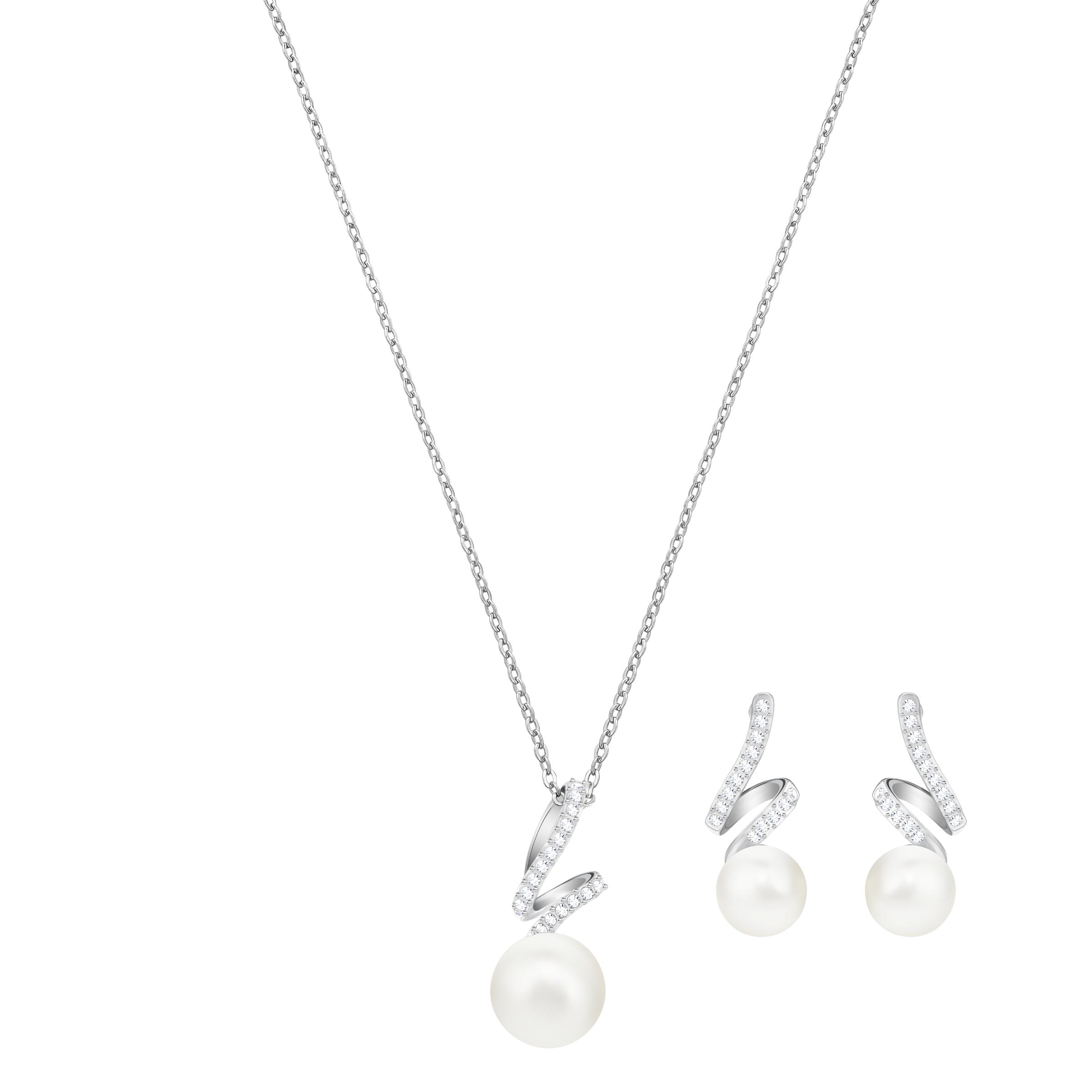 Gabriella Pearl Set, White, Rhodium Plating
