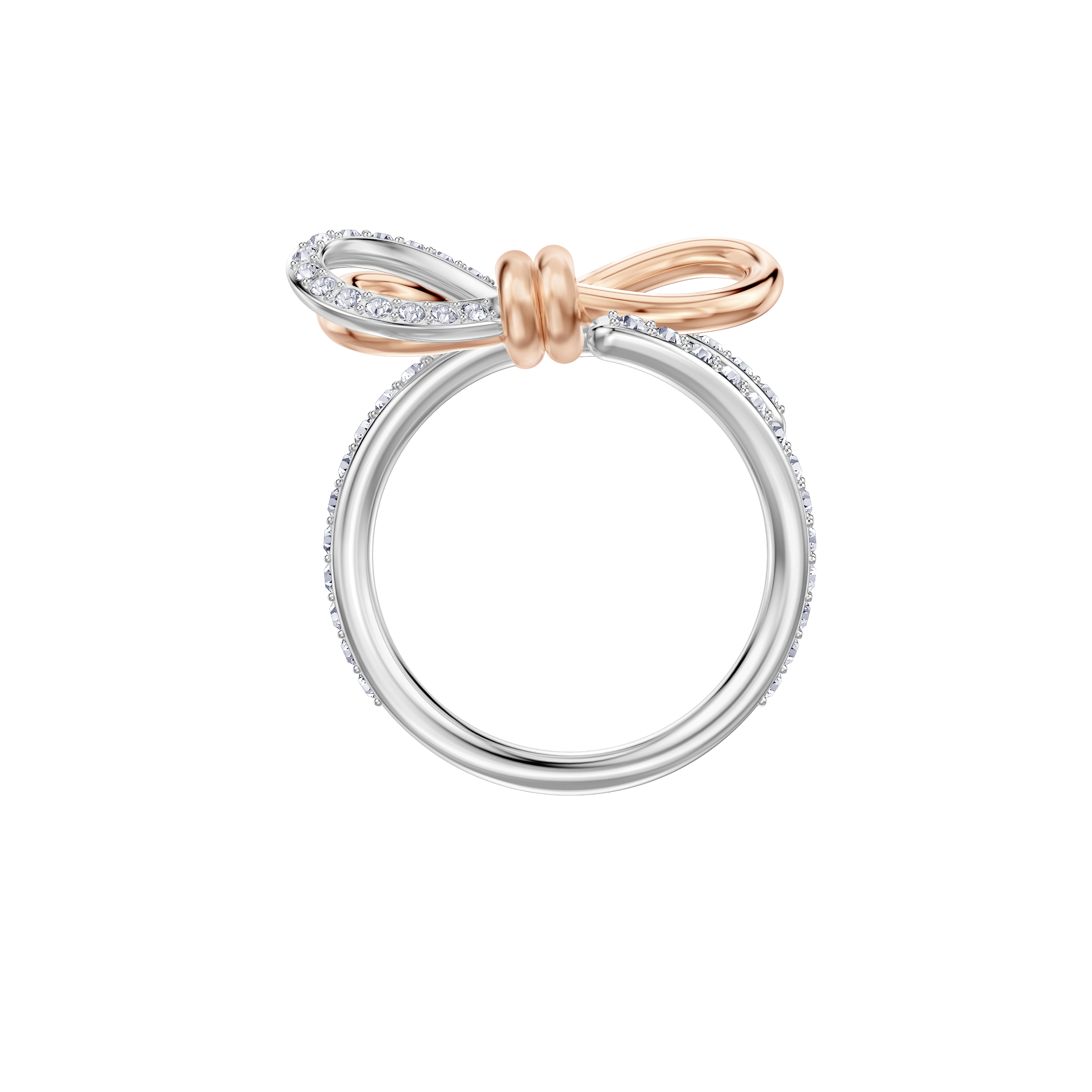 Lifelong Medium Bow Ring, White, Mixed plating