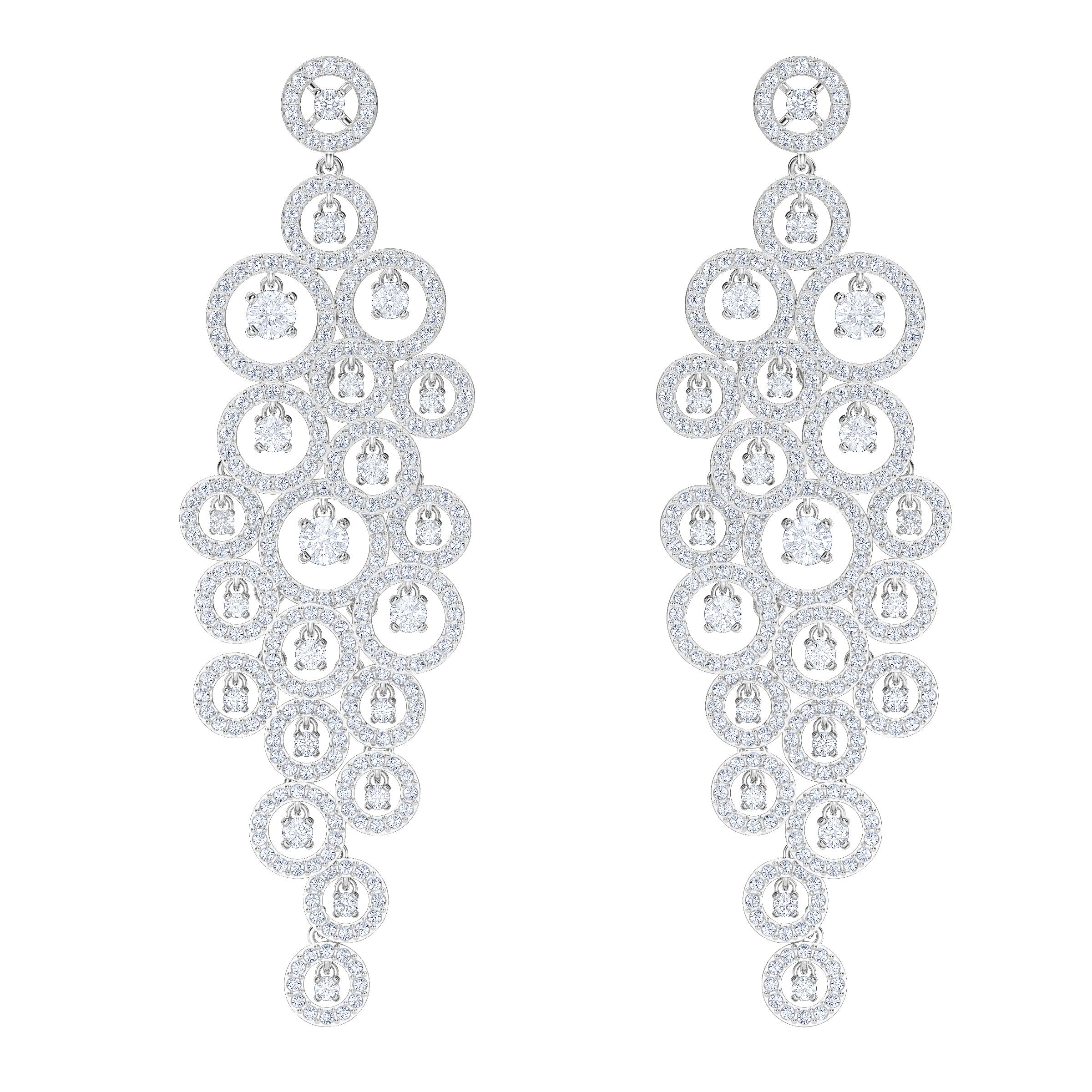 Creativity Chandelier Pierced Earrings, White, Rhodium Plating