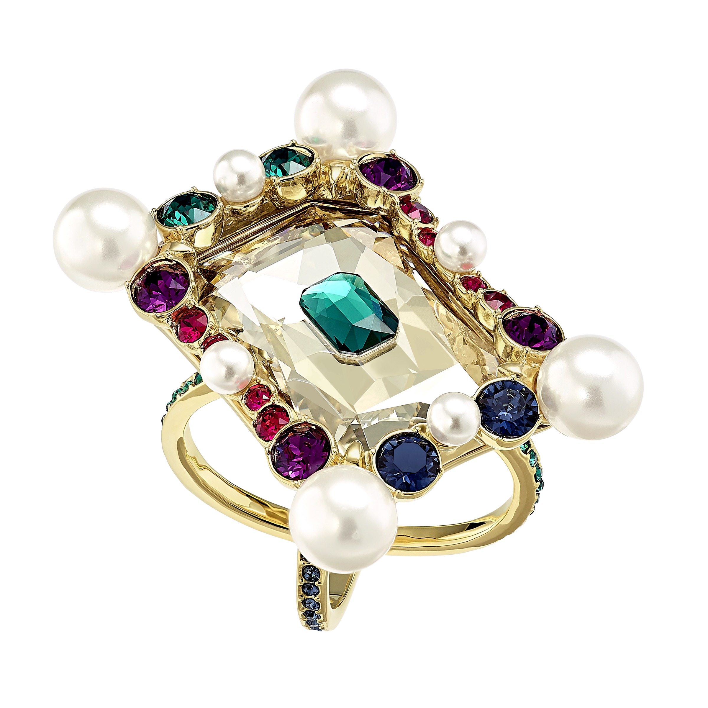 Vintage Opulescence Cocktail Ring, Multi-colored, Gold-tone plated