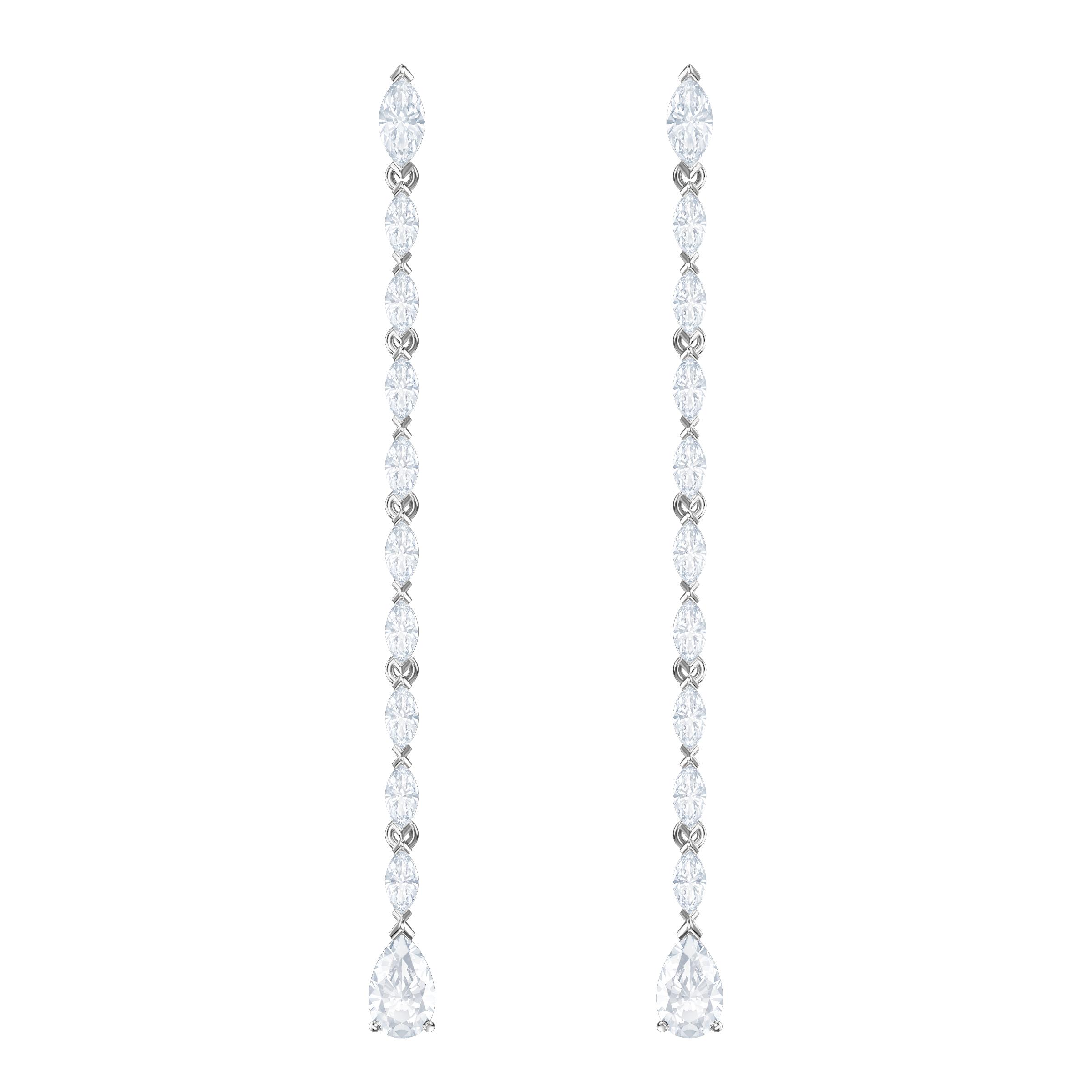 Louison Pierced Earrings, Long, White, Rhodium Plating