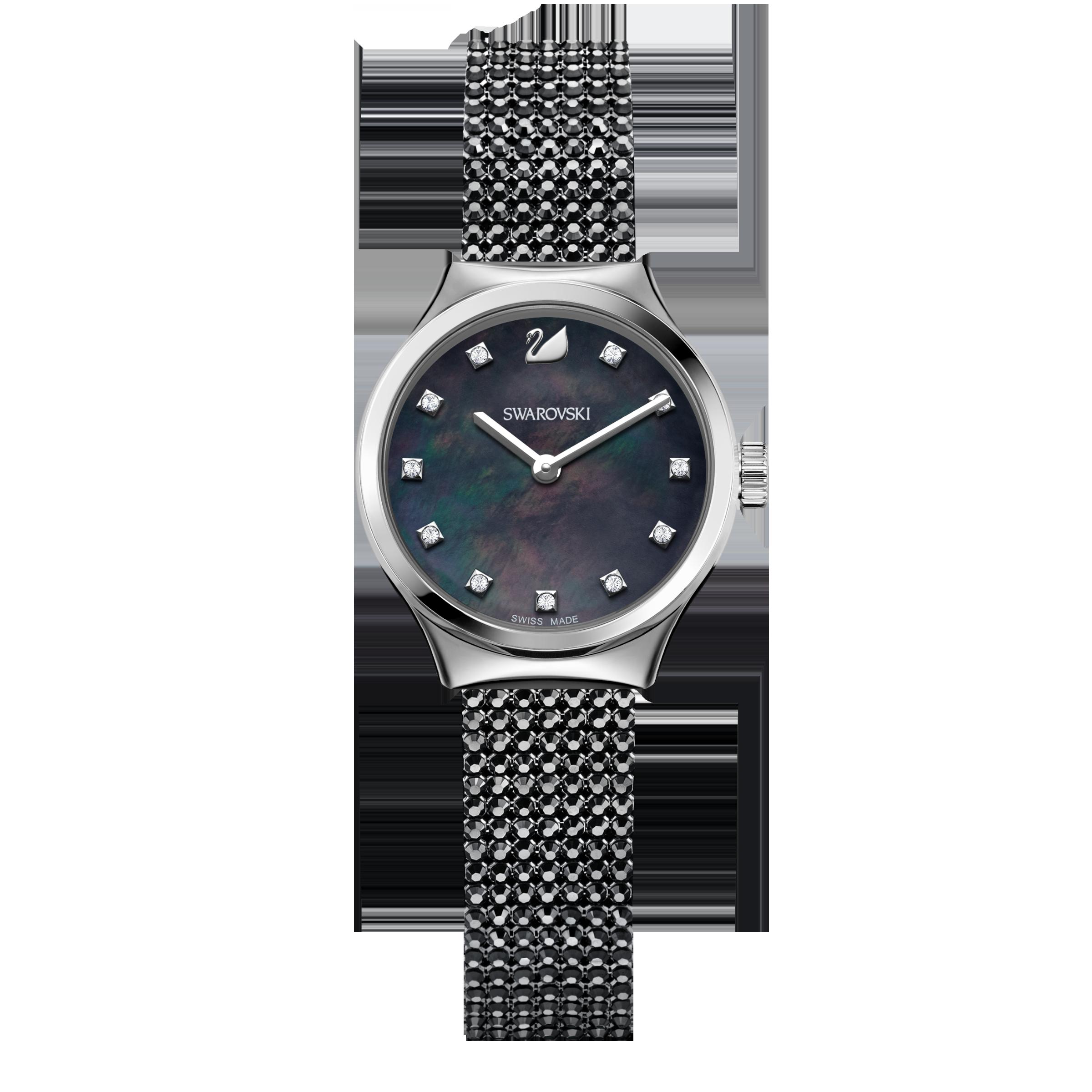 Dreamy Watch, Crystal Mesh strap, Black, Black PVD