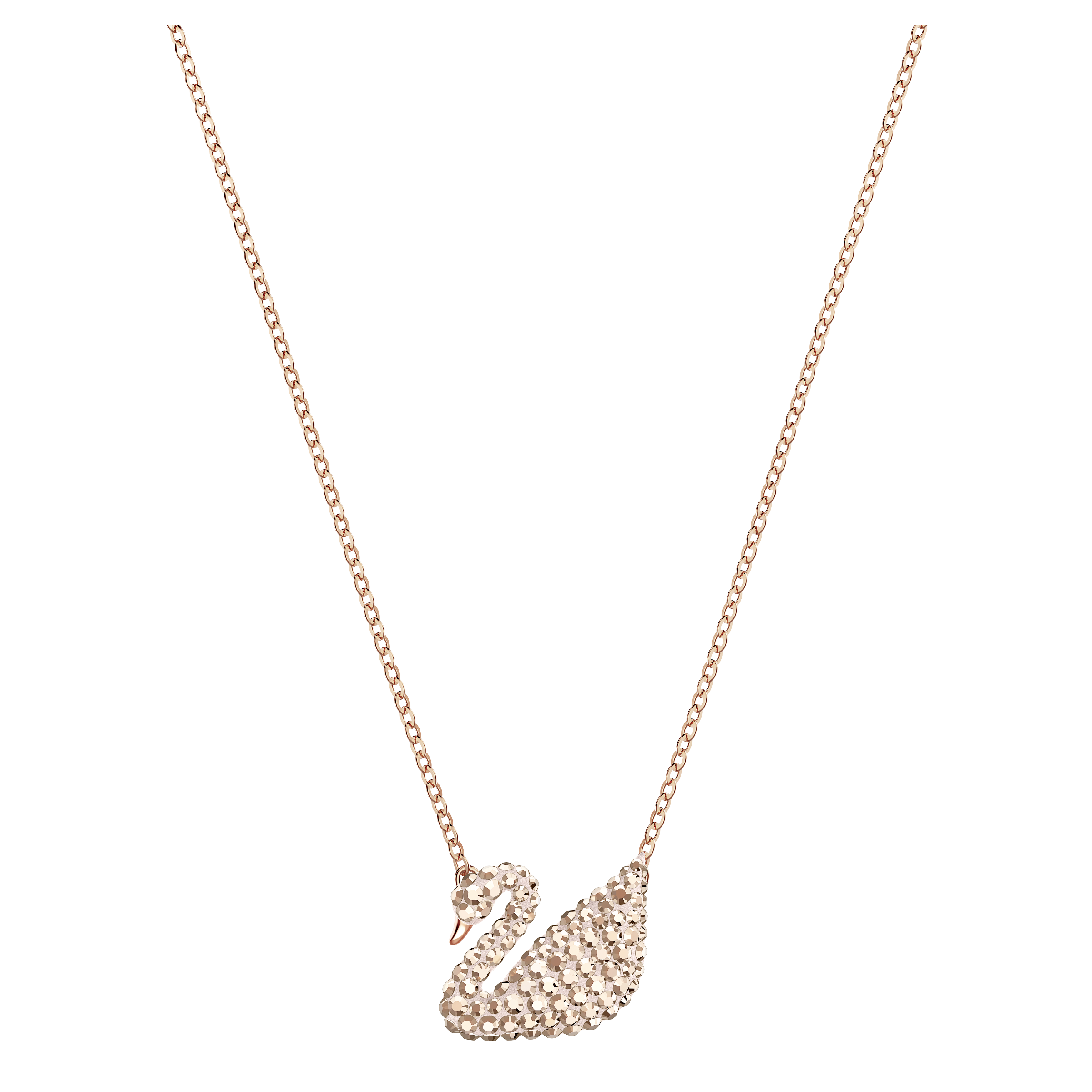 Iconic Swan Pendant, White, Rose Gold Plating