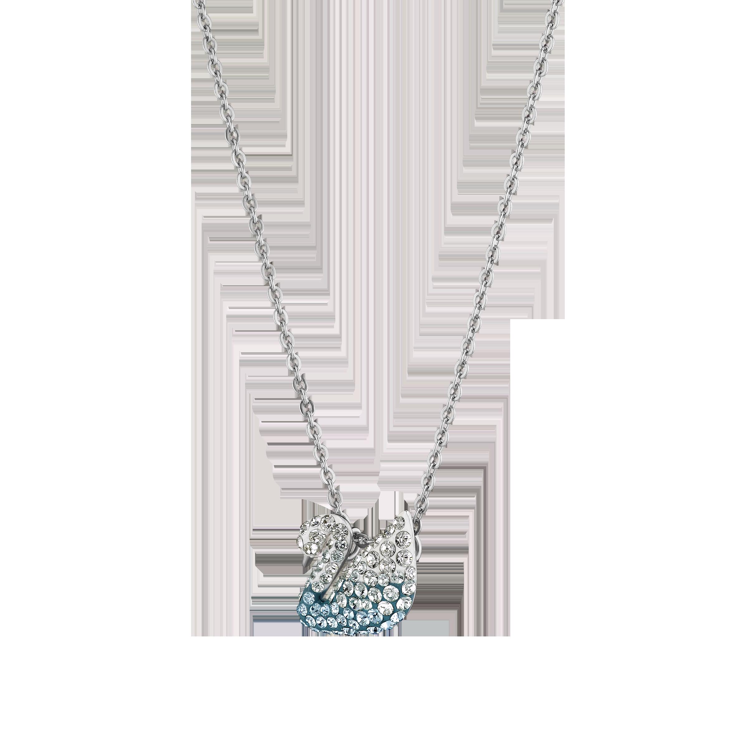Iconic Swan Pendant, Multi-colored, Rhodium plated