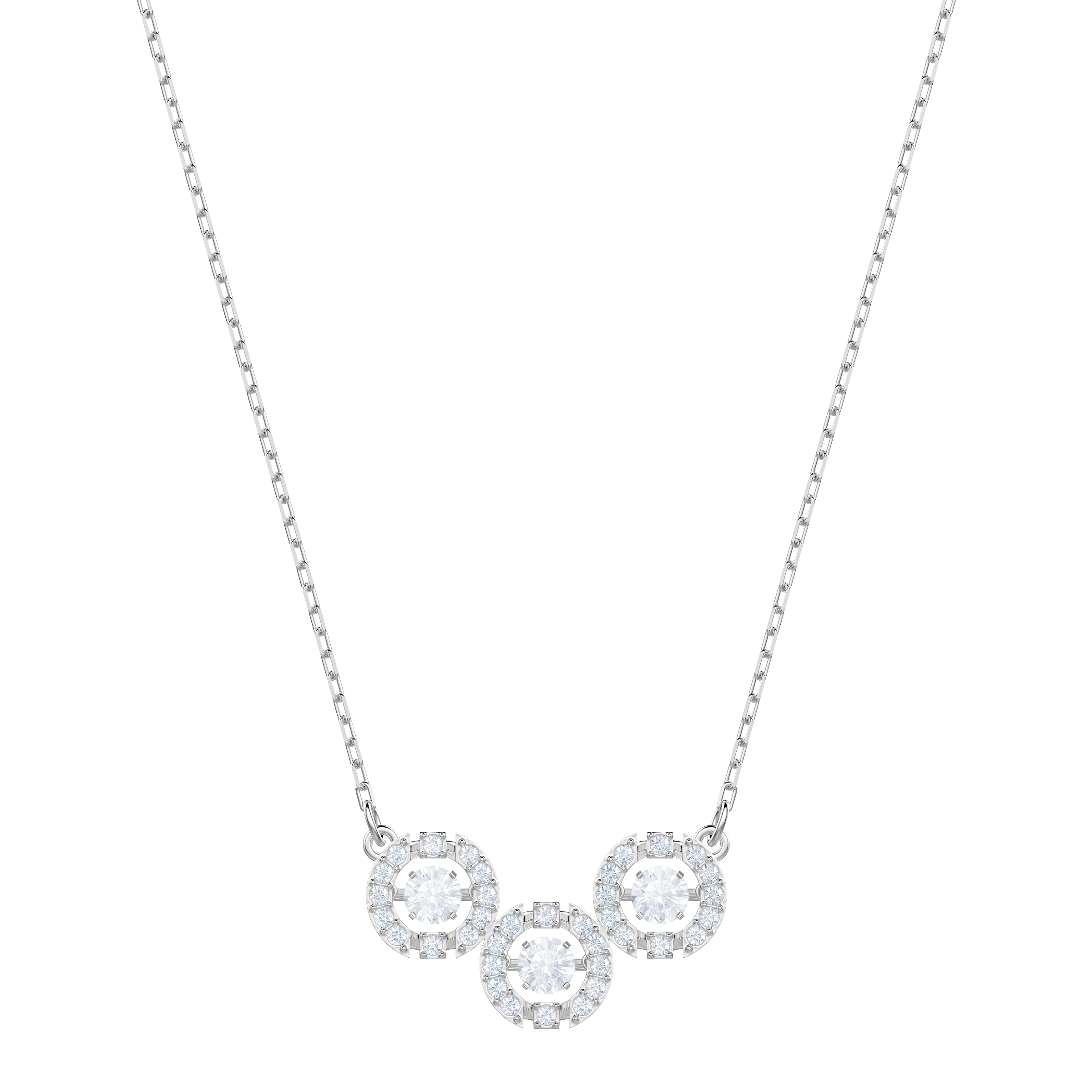 Sparkling Dance Trilogy Necklace, White, Rhodium plating
