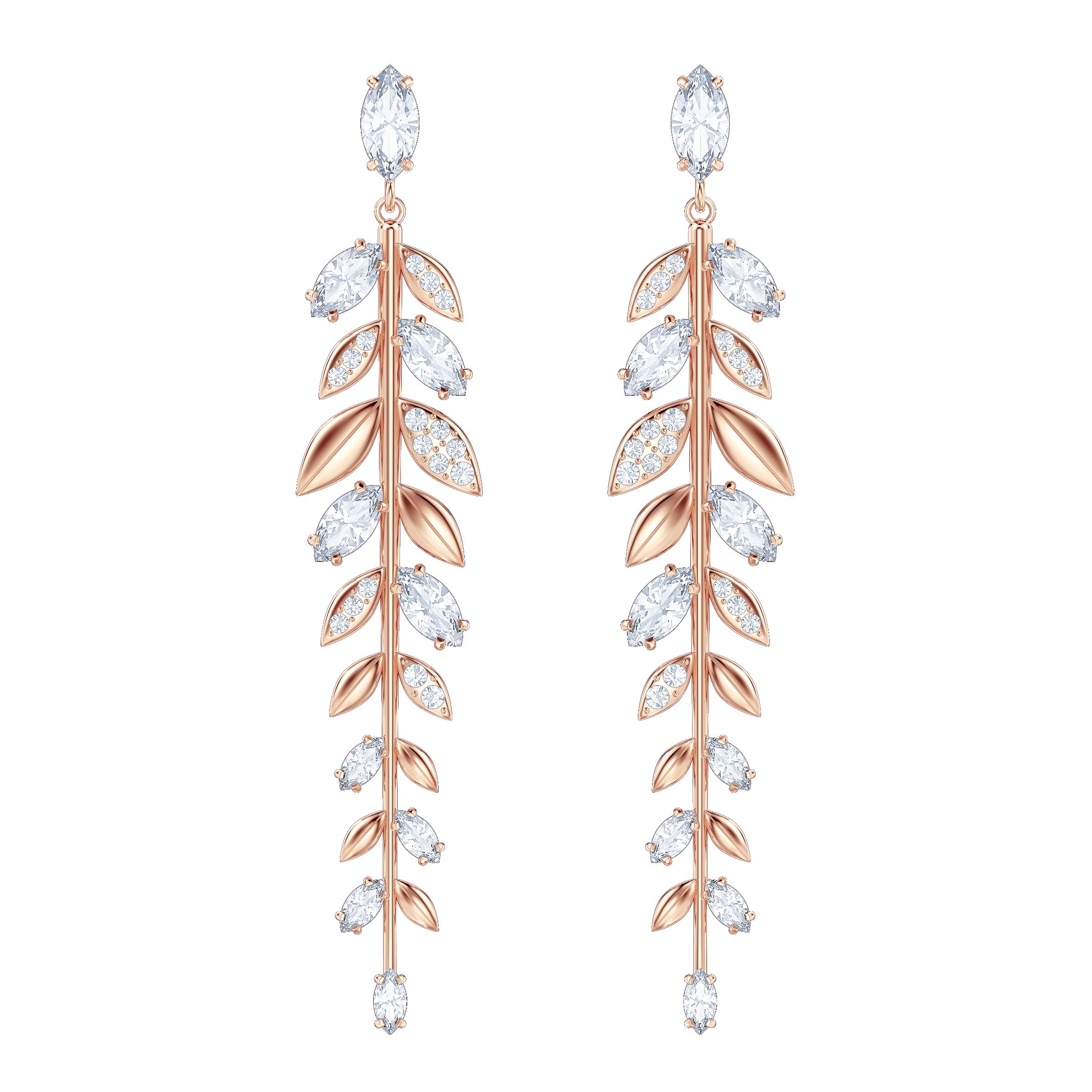 Mayfly Pierced Earrings, Long, White, Rose Gold Plating