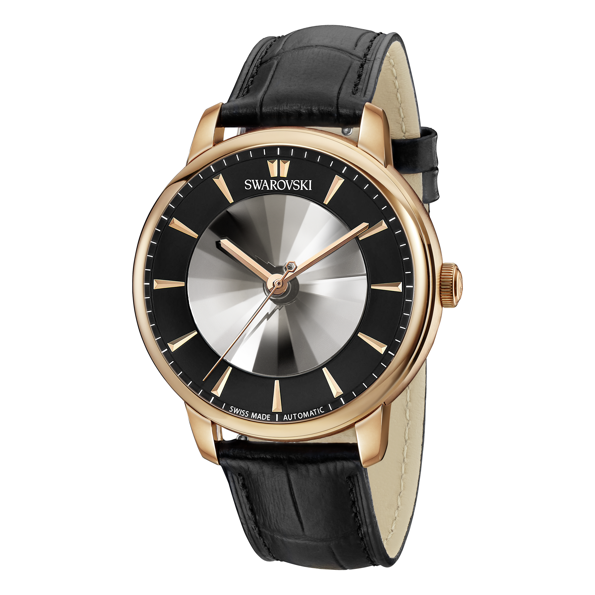 Atlantis Limited Edition Automatic Men's Watch, Leather strap, Black, Rose-gold tone PVD