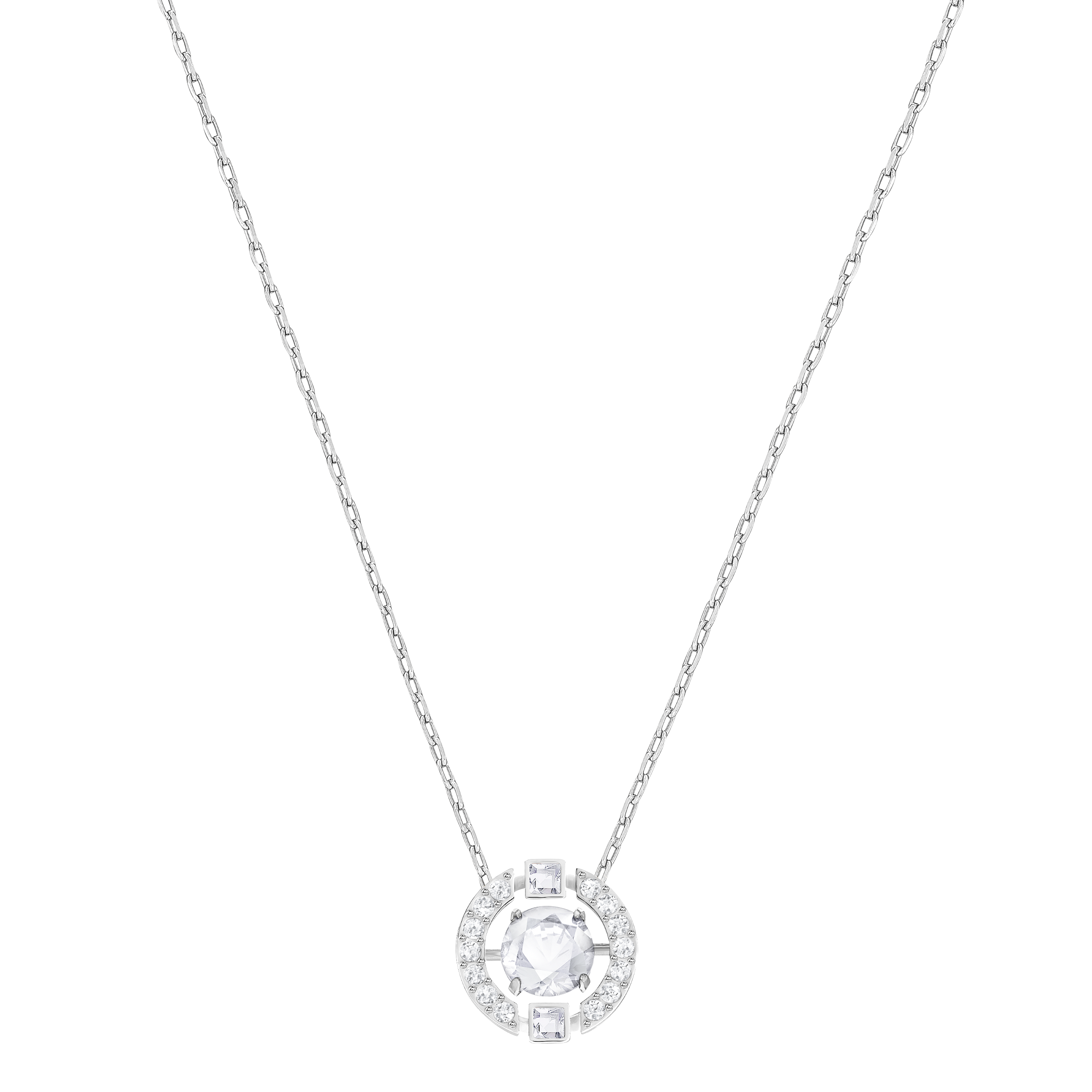 Sparkling Dance Round Necklace, White, Rhodium Plated