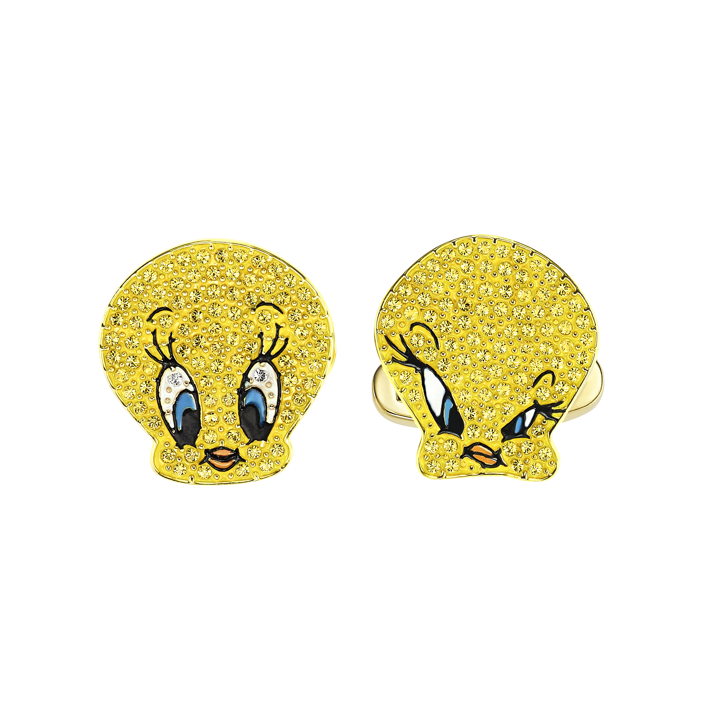 Looney Tunes Tweety Cuff Links, Yellow, Gold-tone plated